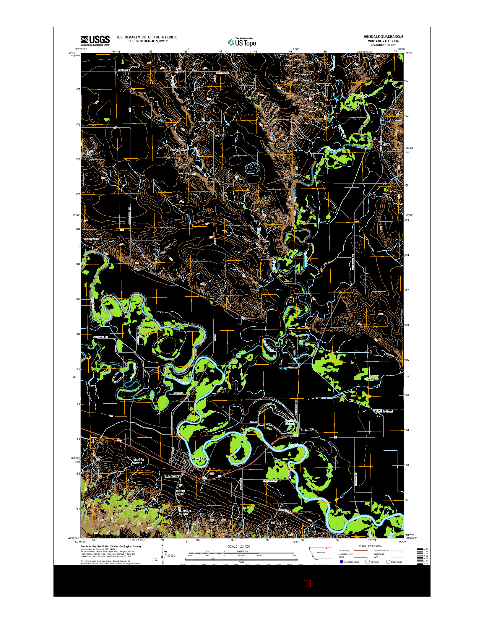 USGS US TOPO 7.5-MINUTE MAP FOR HINSDALE, MT 2014