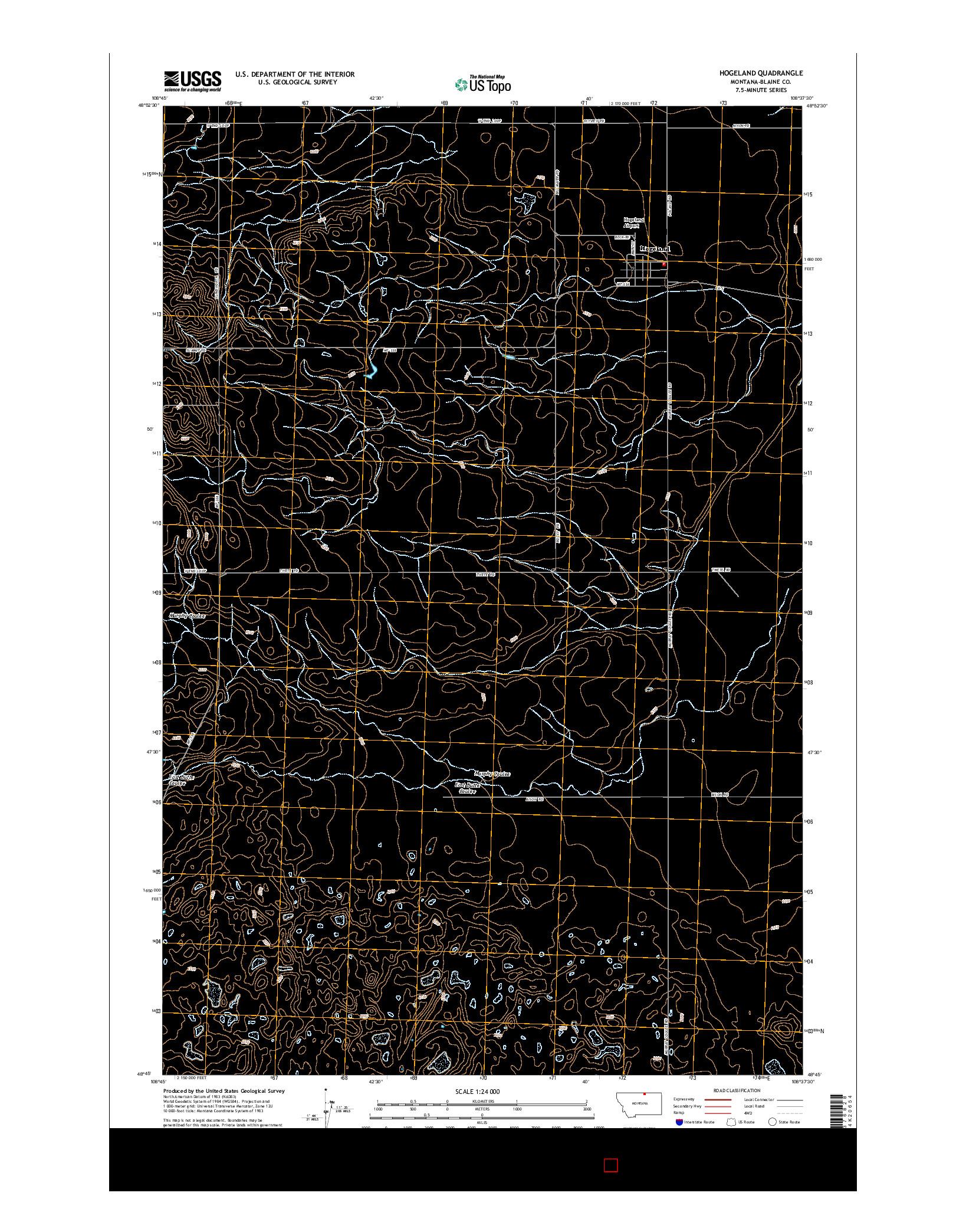 USGS US TOPO 7.5-MINUTE MAP FOR HOGELAND, MT 2014