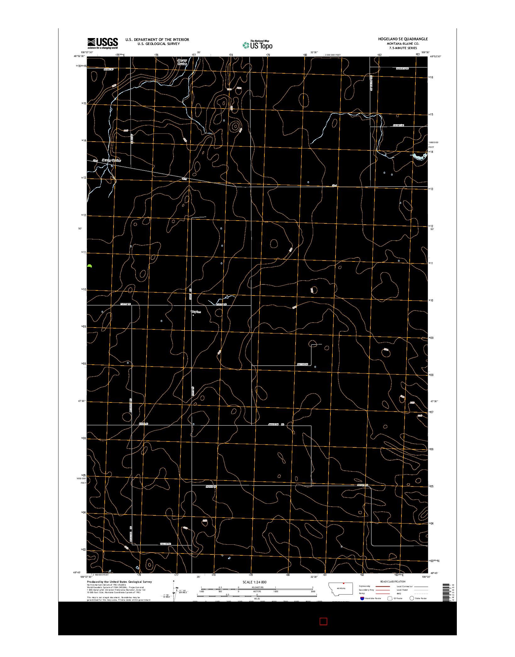 USGS US TOPO 7.5-MINUTE MAP FOR HOGELAND SE, MT 2014