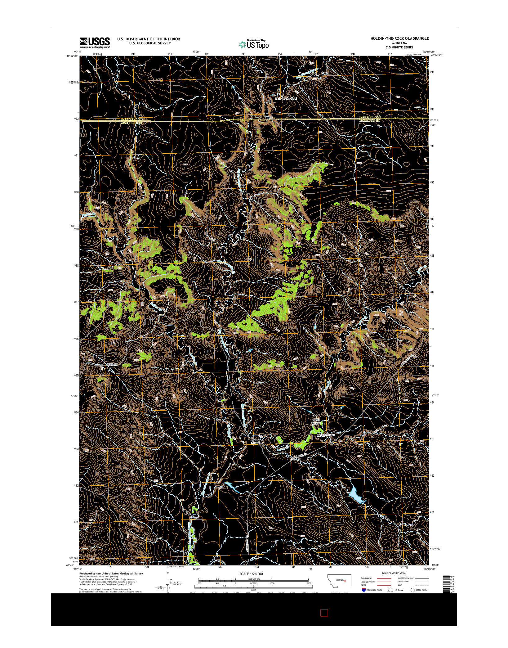 USGS US TOPO 7.5-MINUTE MAP FOR HOLE-IN-THE-ROCK, MT 2014