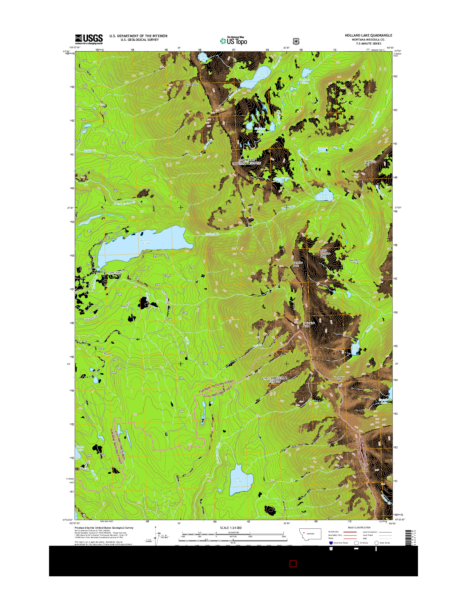 USGS US TOPO 7.5-MINUTE MAP FOR HOLLAND LAKE, MT 2014
