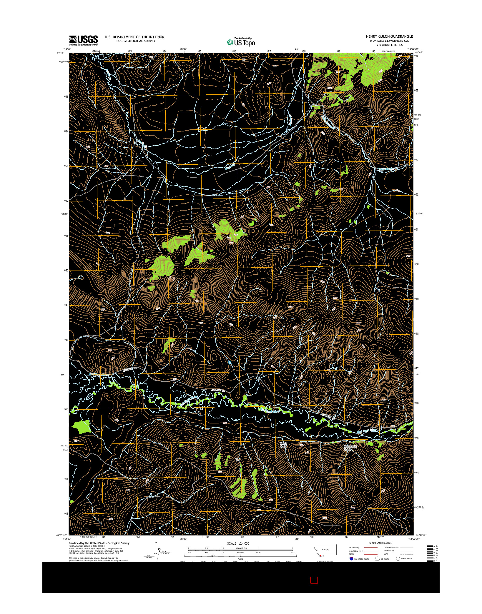 USGS US TOPO 7.5-MINUTE MAP FOR HENRY GULCH, MT 2014