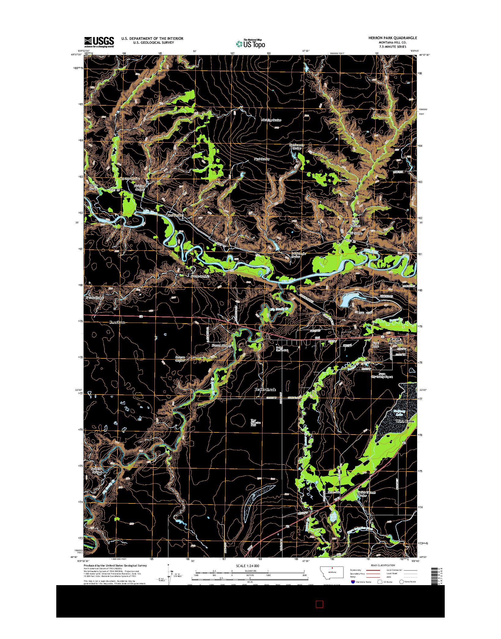 USGS US TOPO 7.5-MINUTE MAP FOR HERRON PARK, MT 2014
