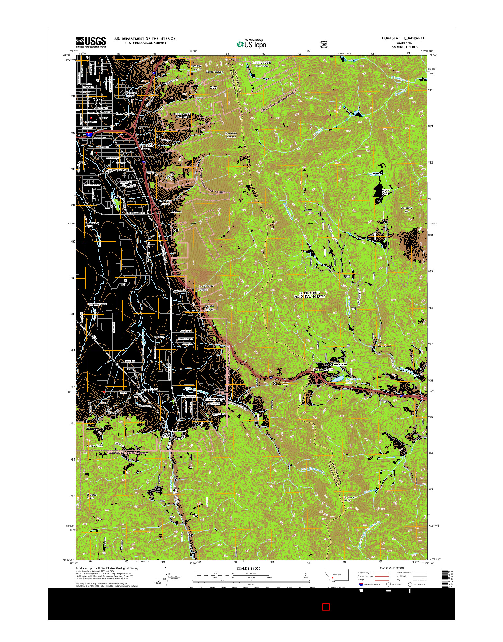 USGS US TOPO 7.5-MINUTE MAP FOR HOMESTAKE, MT 2014