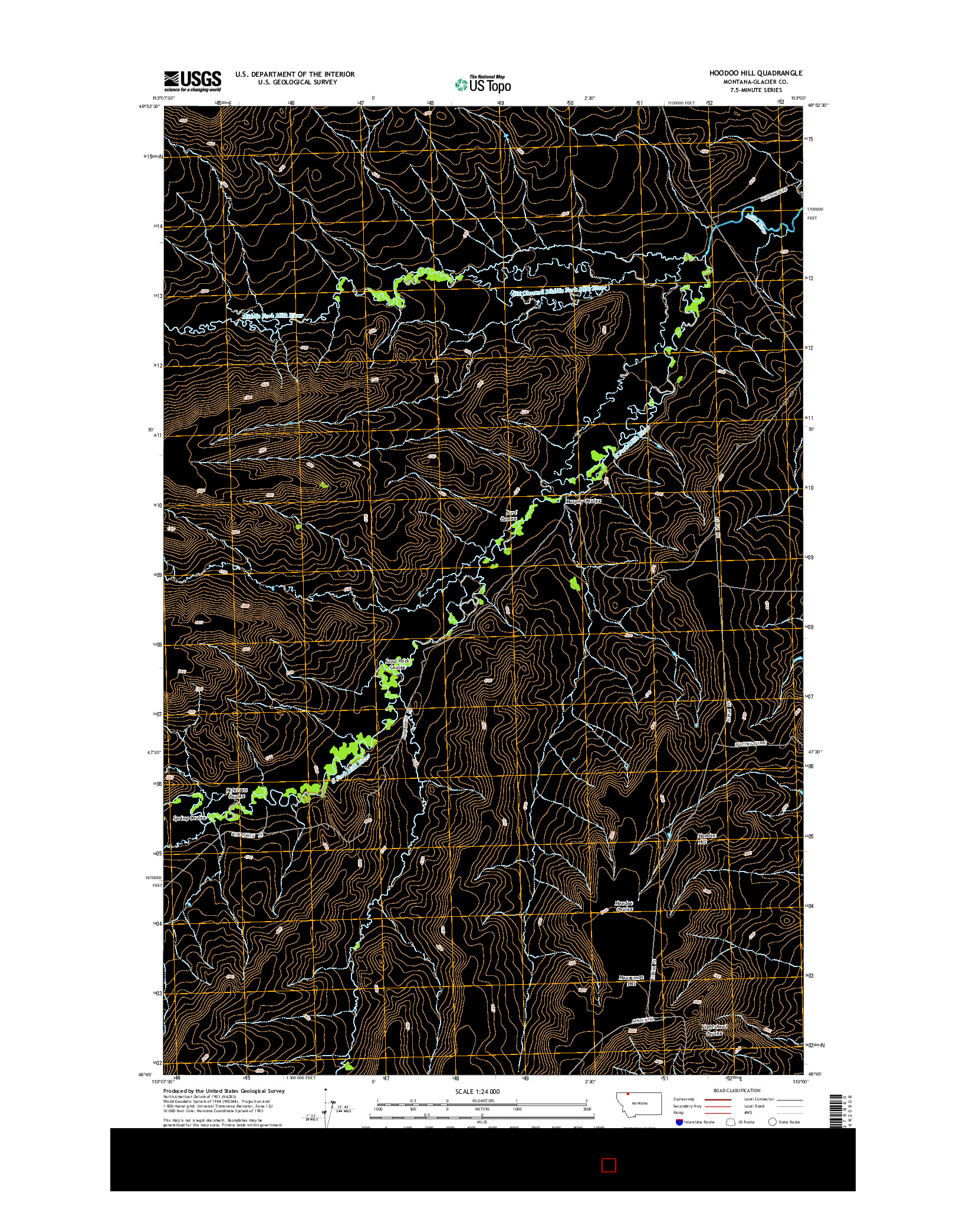 USGS US TOPO 7.5-MINUTE MAP FOR HOODOO HILL, MT 2014