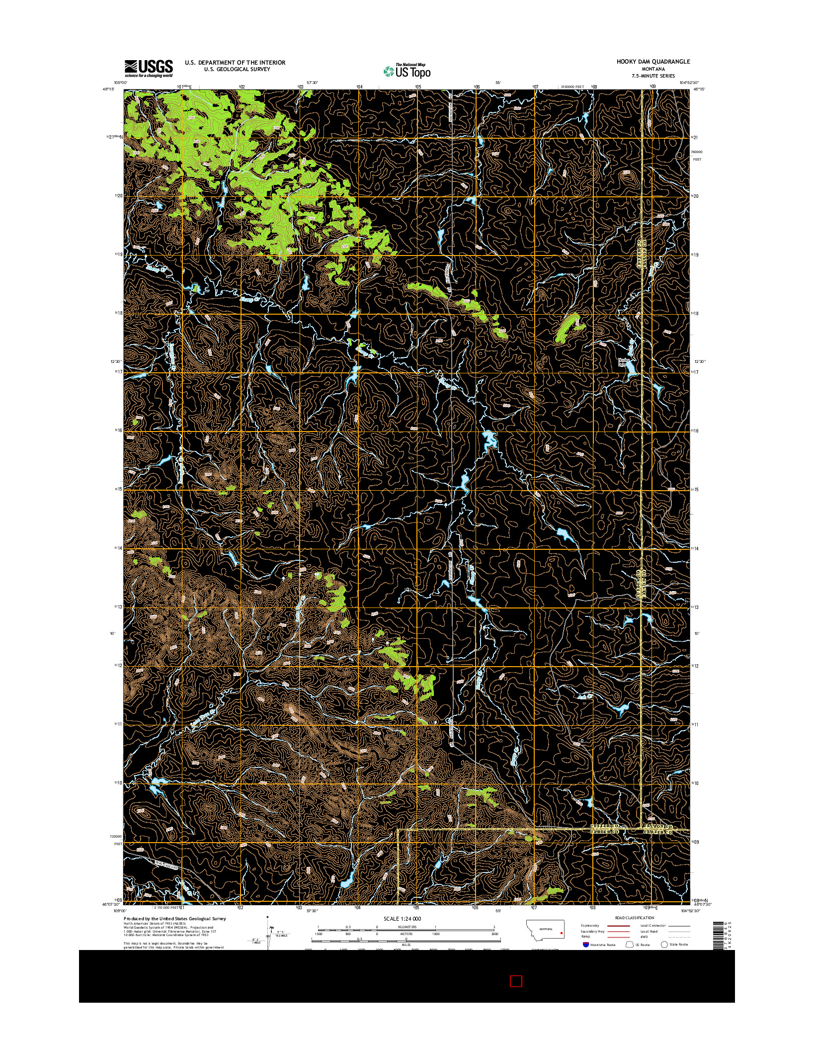 USGS US TOPO 7.5-MINUTE MAP FOR HOOKY DAM, MT 2014