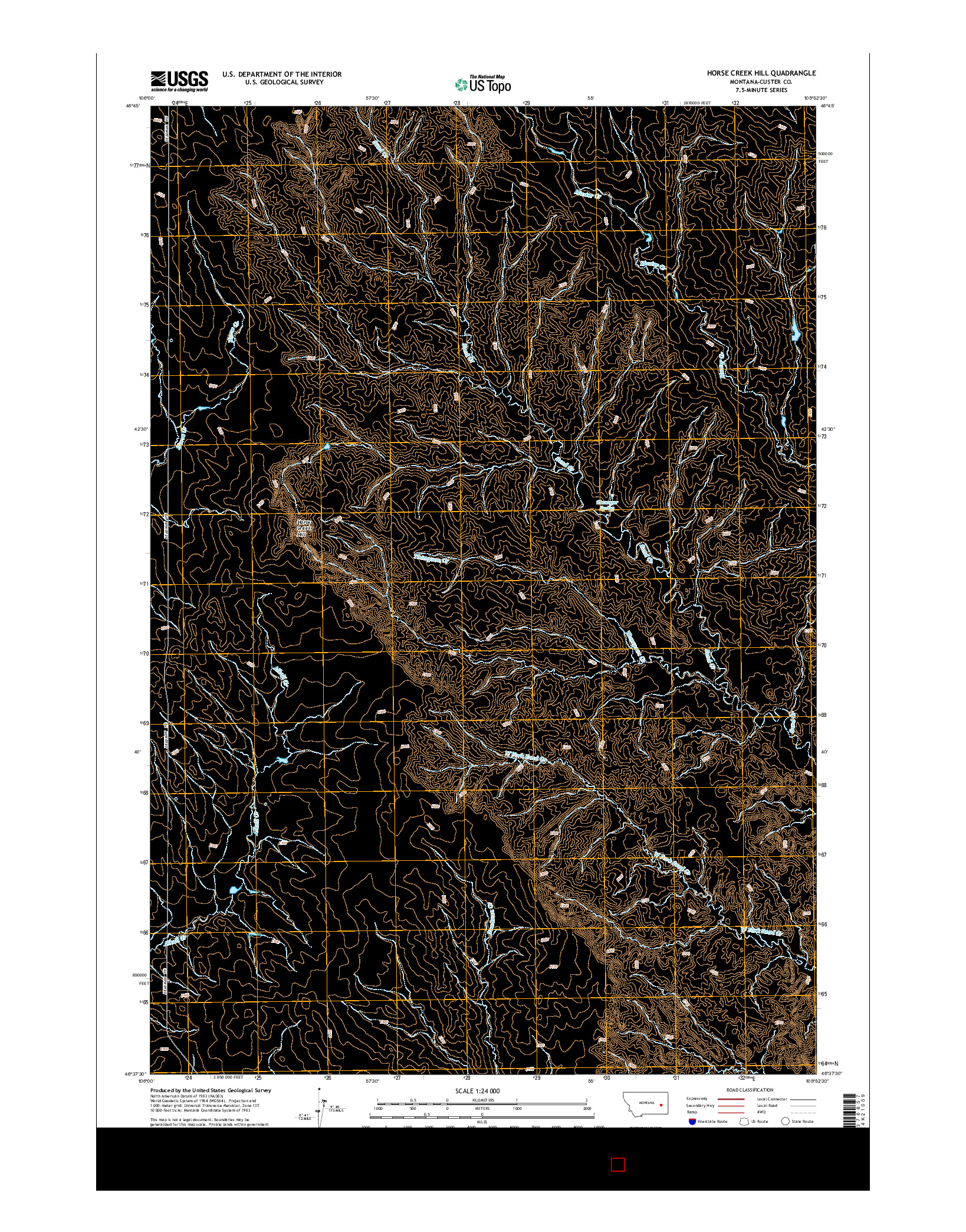 USGS US TOPO 7.5-MINUTE MAP FOR HORSE CREEK HILL, MT 2014