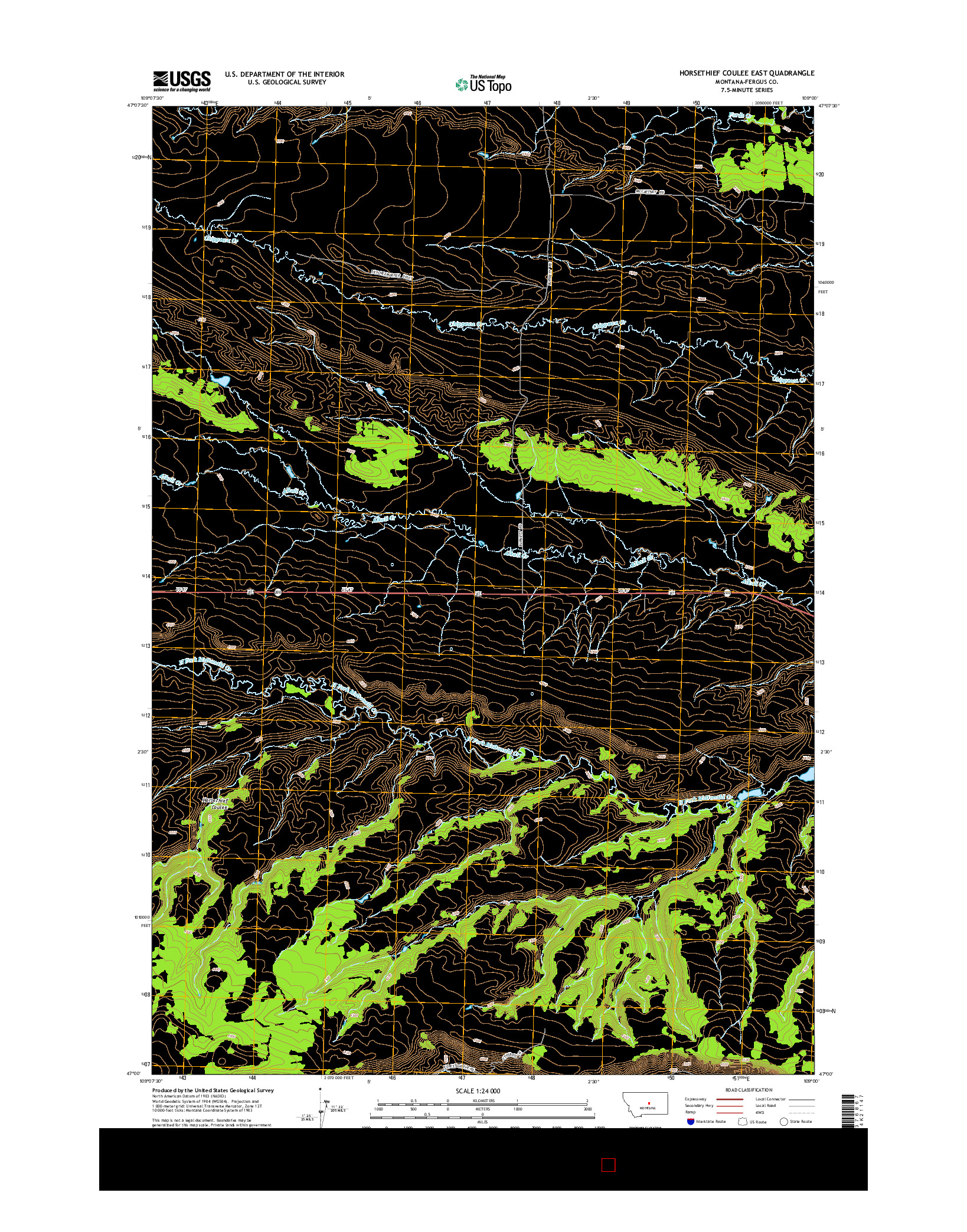 USGS US TOPO 7.5-MINUTE MAP FOR HORSETHIEF COULEE EAST, MT 2014
