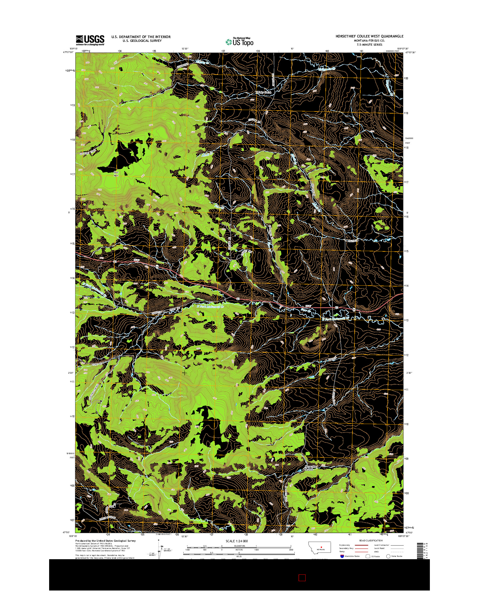 USGS US TOPO 7.5-MINUTE MAP FOR HORSETHIEF COULEE WEST, MT 2014