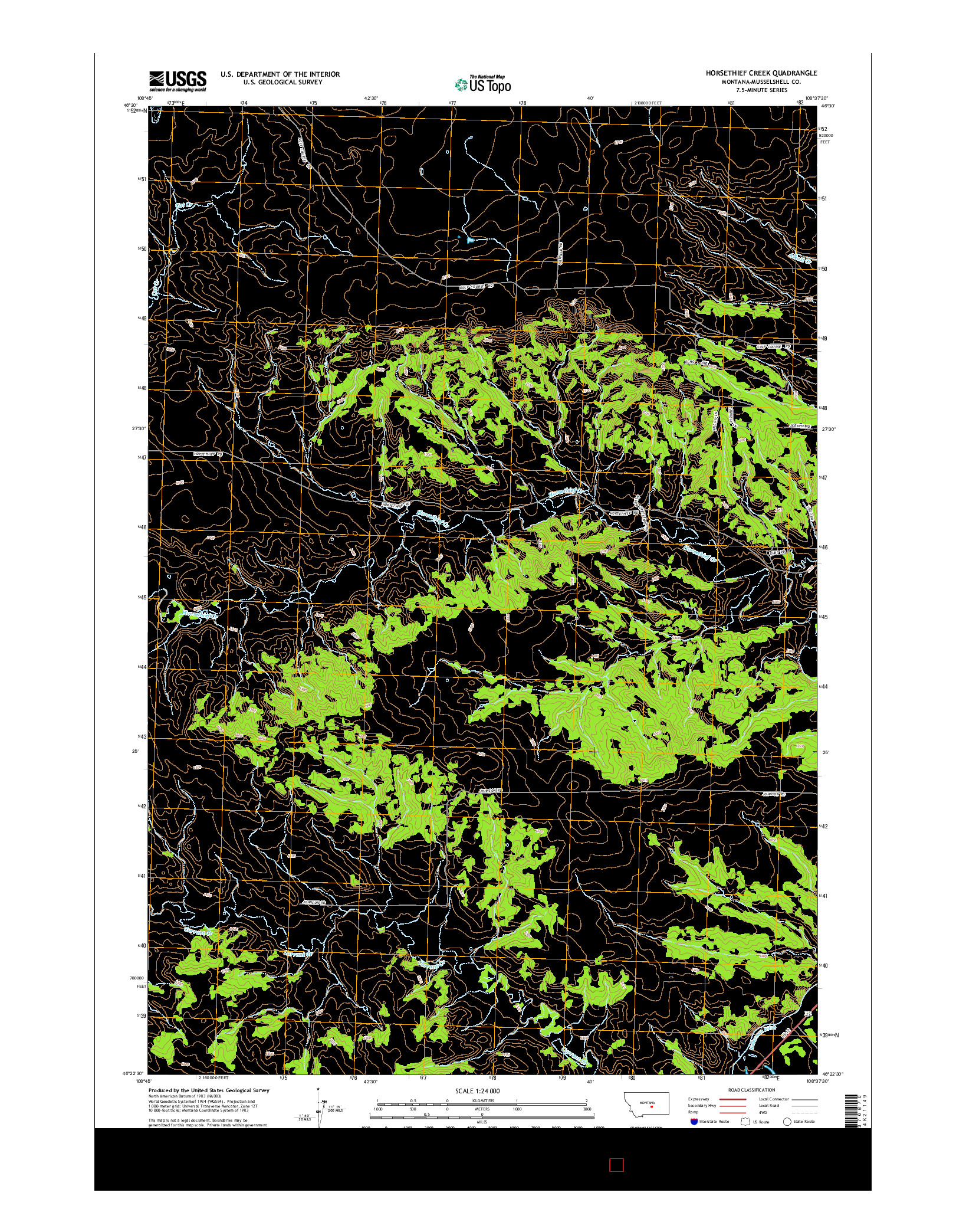 USGS US TOPO 7.5-MINUTE MAP FOR HORSETHIEF CREEK, MT 2014