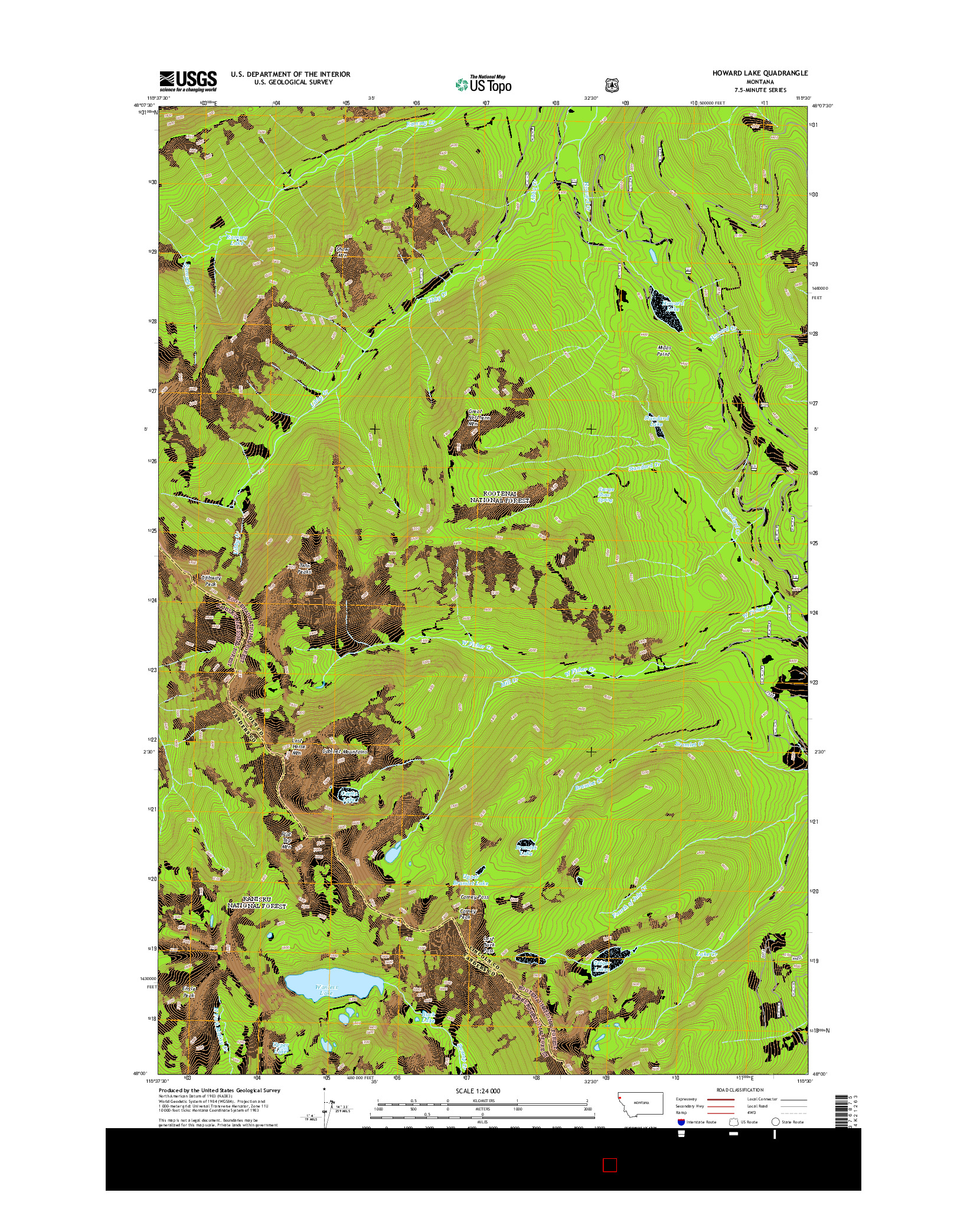 USGS US TOPO 7.5-MINUTE MAP FOR HOWARD LAKE, MT 2014