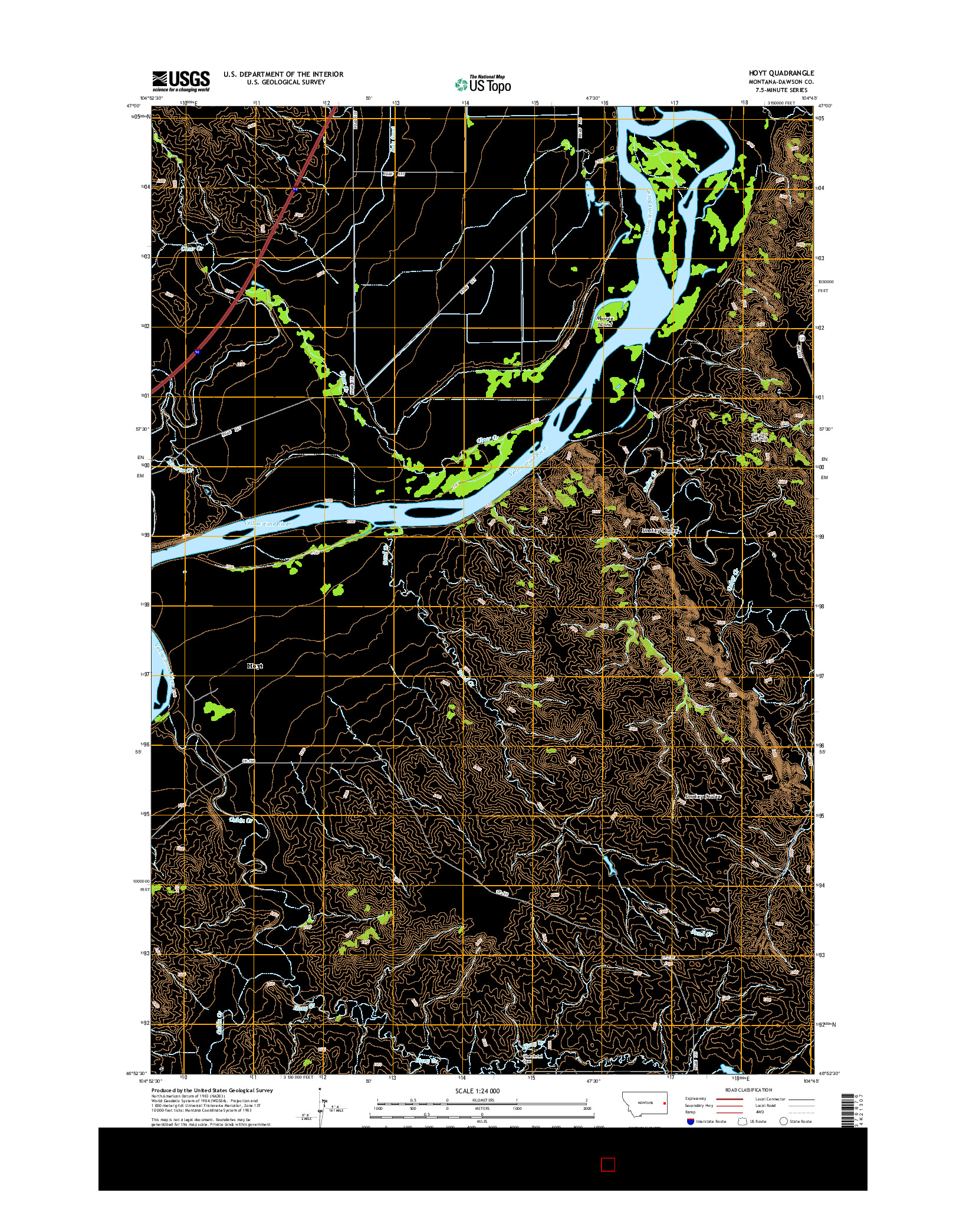 USGS US TOPO 7.5-MINUTE MAP FOR HOYT, MT 2014