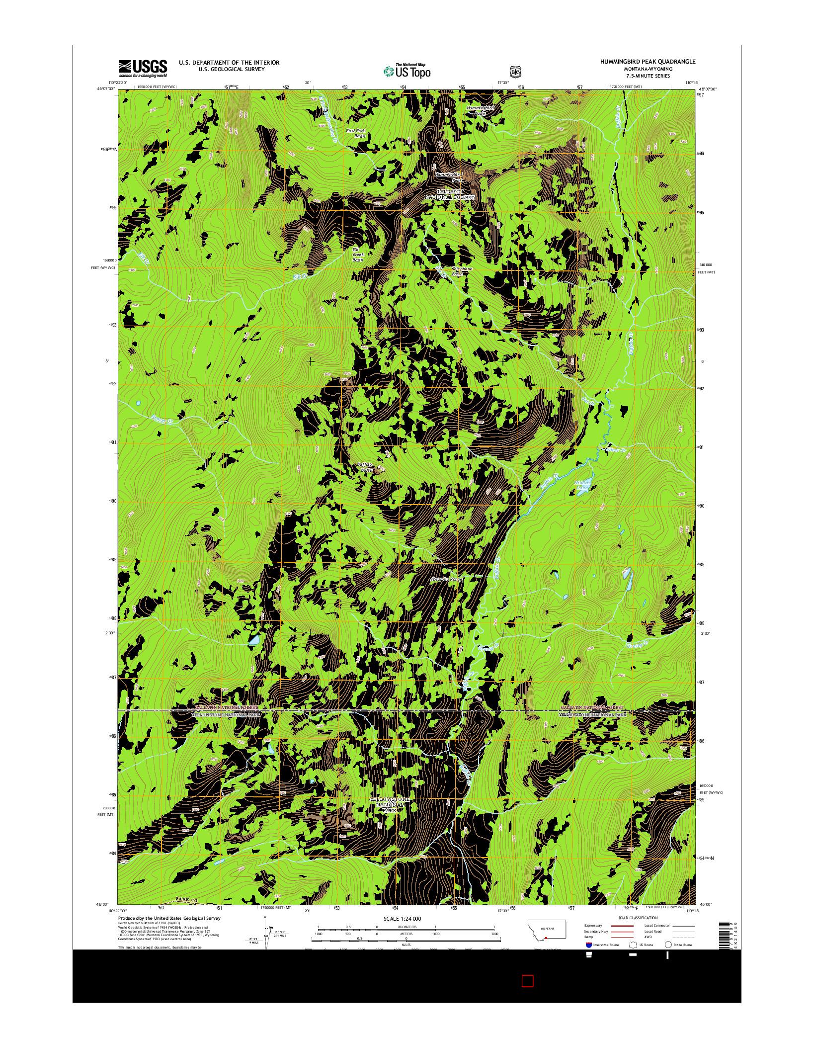 USGS US TOPO 7.5-MINUTE MAP FOR HUMMINGBIRD PEAK, MT-WY 2014