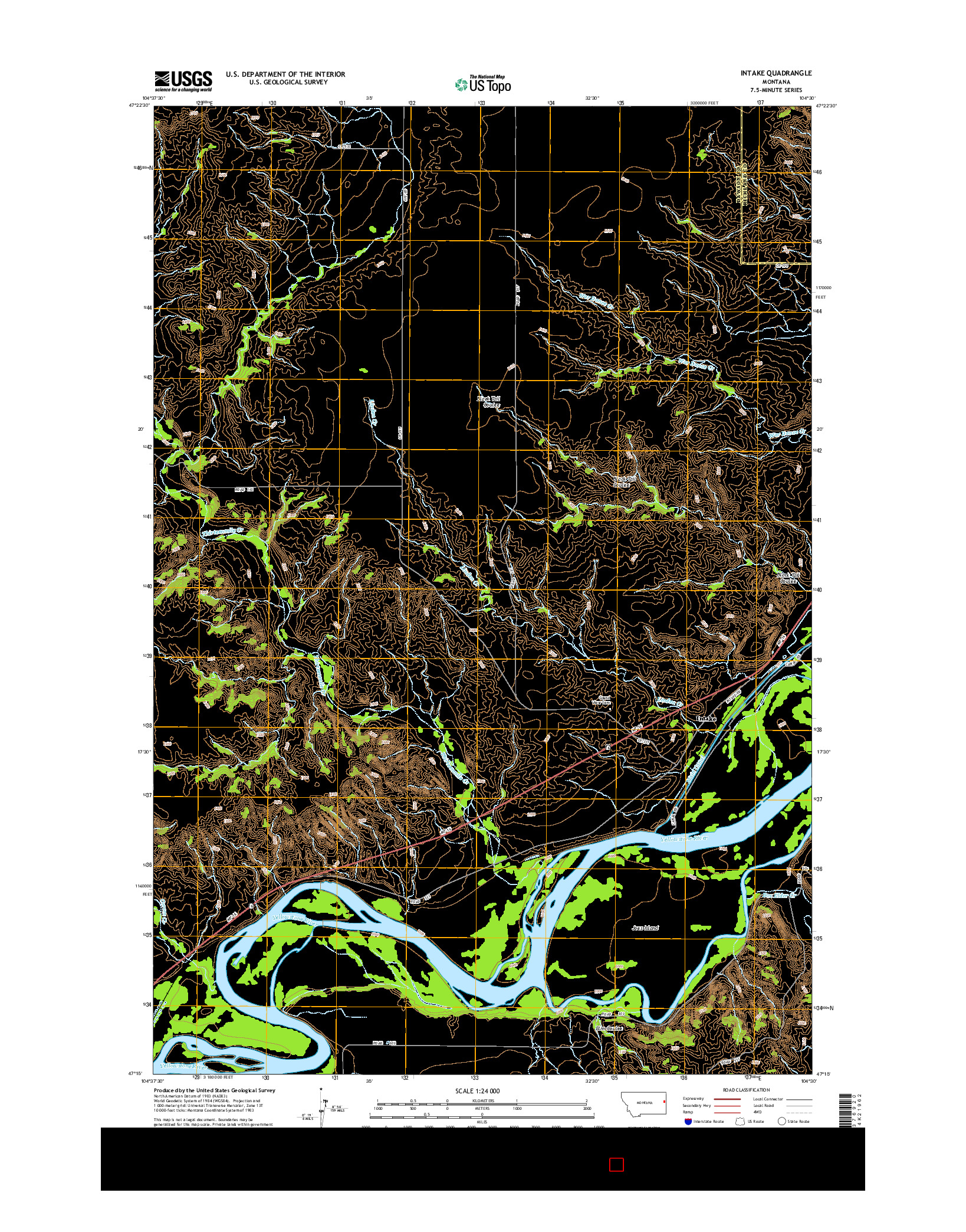 USGS US TOPO 7.5-MINUTE MAP FOR INTAKE, MT 2014