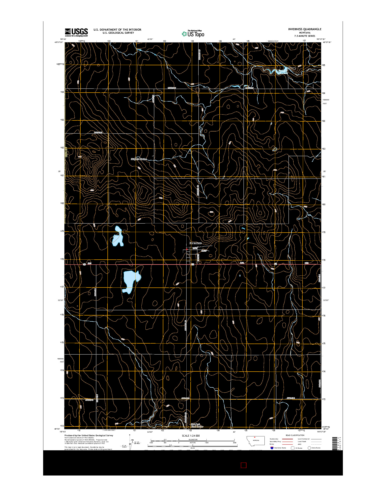 USGS US TOPO 7.5-MINUTE MAP FOR INVERNESS, MT 2014