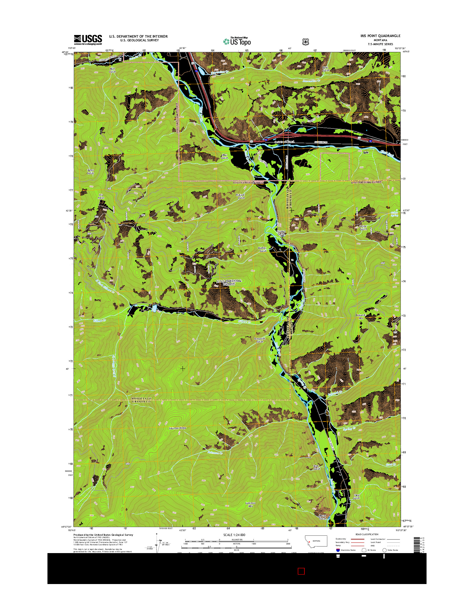 USGS US TOPO 7.5-MINUTE MAP FOR IRIS POINT, MT 2014