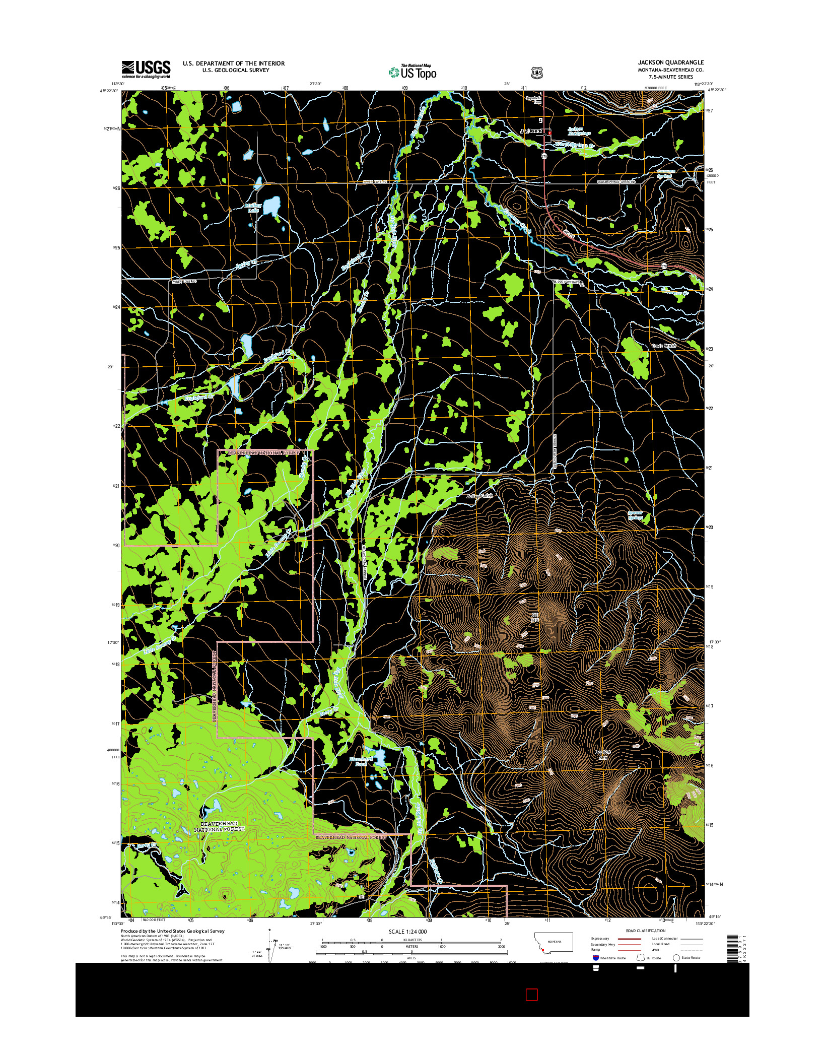 USGS US TOPO 7.5-MINUTE MAP FOR JACKSON, MT 2014