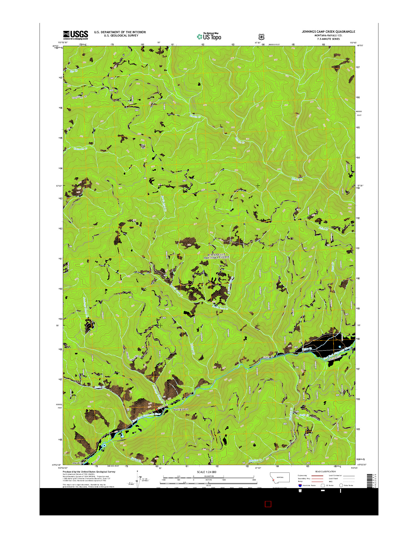 USGS US TOPO 7.5-MINUTE MAP FOR JENNINGS CAMP CREEK, MT 2014