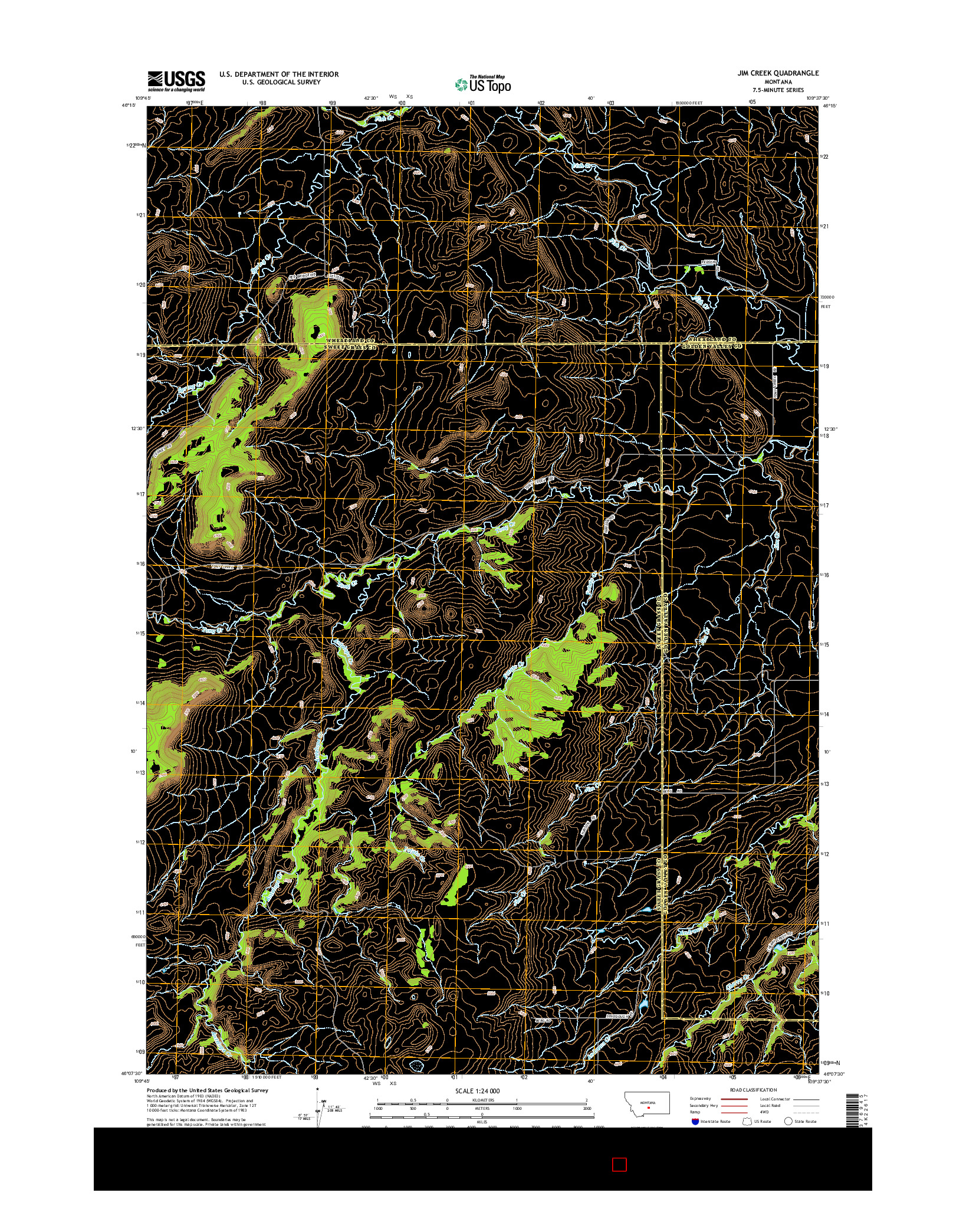USGS US TOPO 7.5-MINUTE MAP FOR JIM CREEK, MT 2014