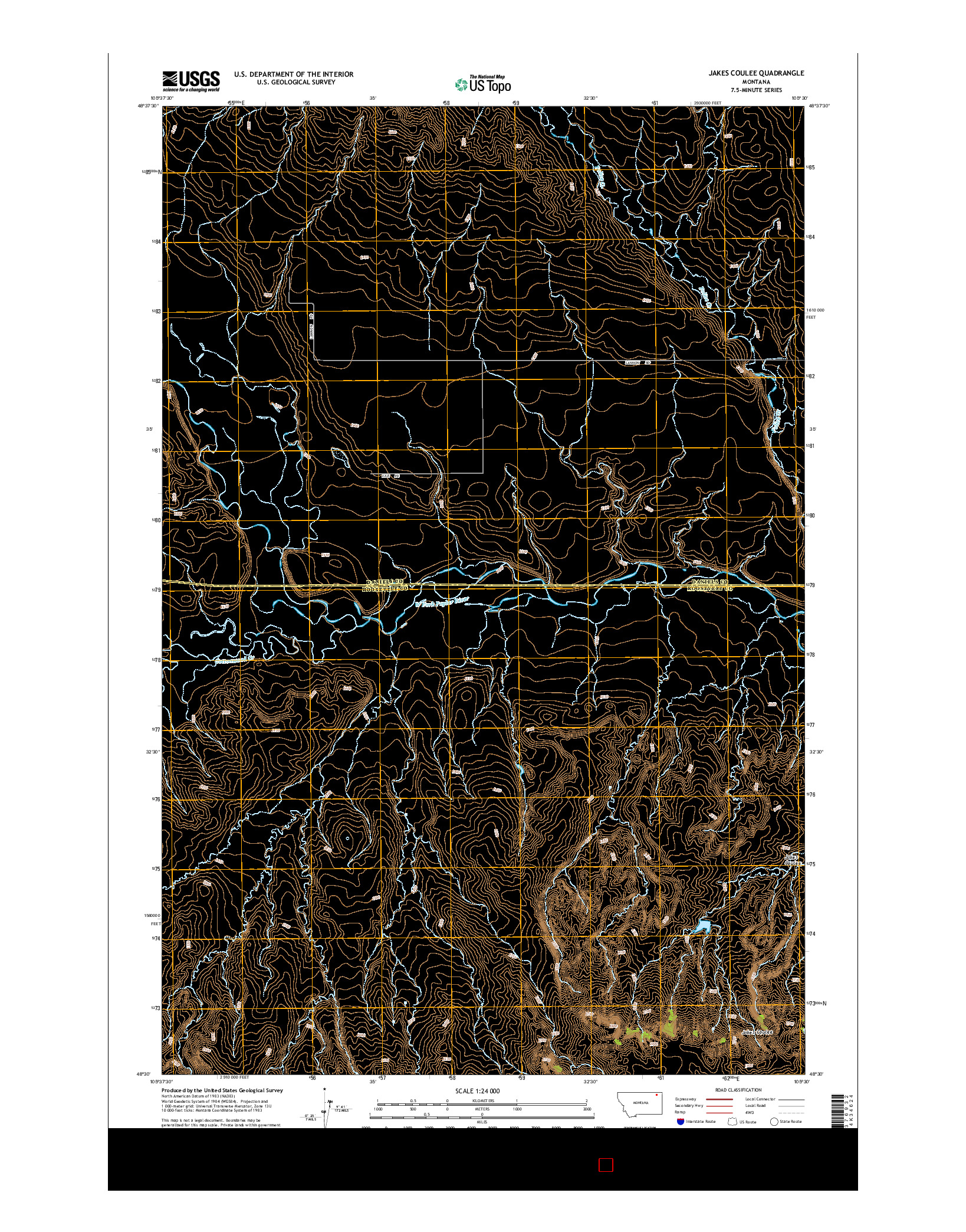 USGS US TOPO 7.5-MINUTE MAP FOR JAKES COULEE, MT 2014