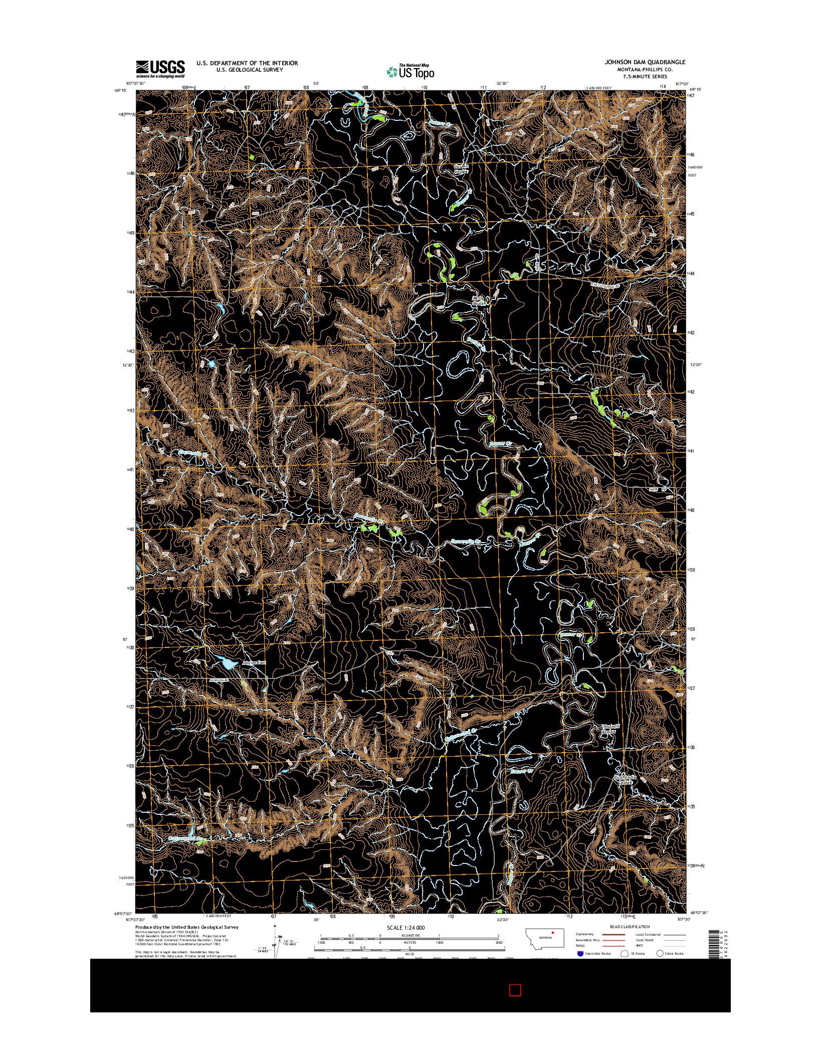 USGS US TOPO 7.5-MINUTE MAP FOR JOHNSON DAM, MT 2014