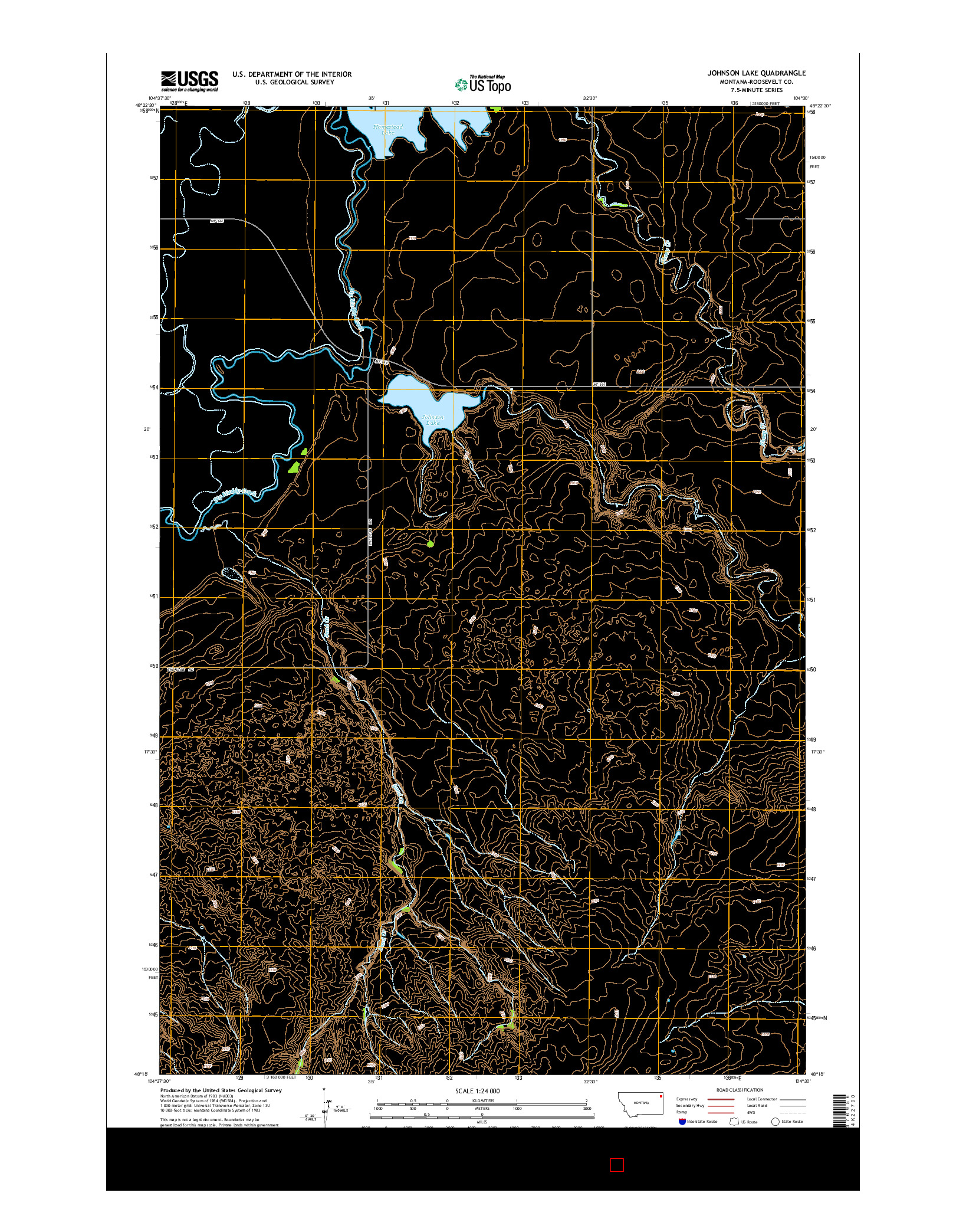 USGS US TOPO 7.5-MINUTE MAP FOR JOHNSON LAKE, MT 2014