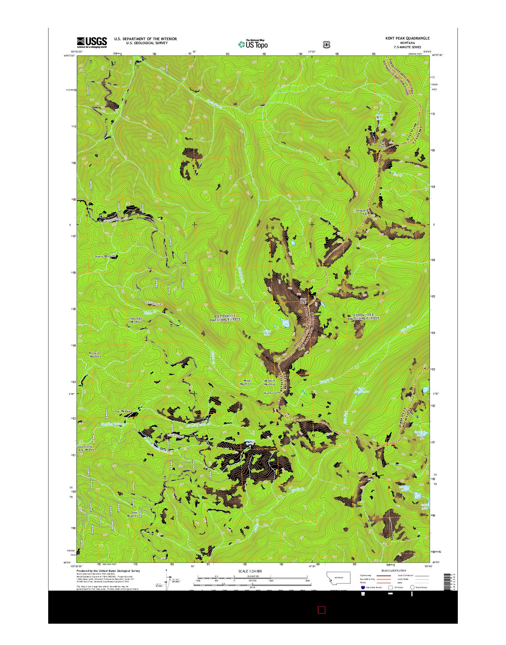 USGS US TOPO 7.5-MINUTE MAP FOR KENT PEAK, MT 2014
