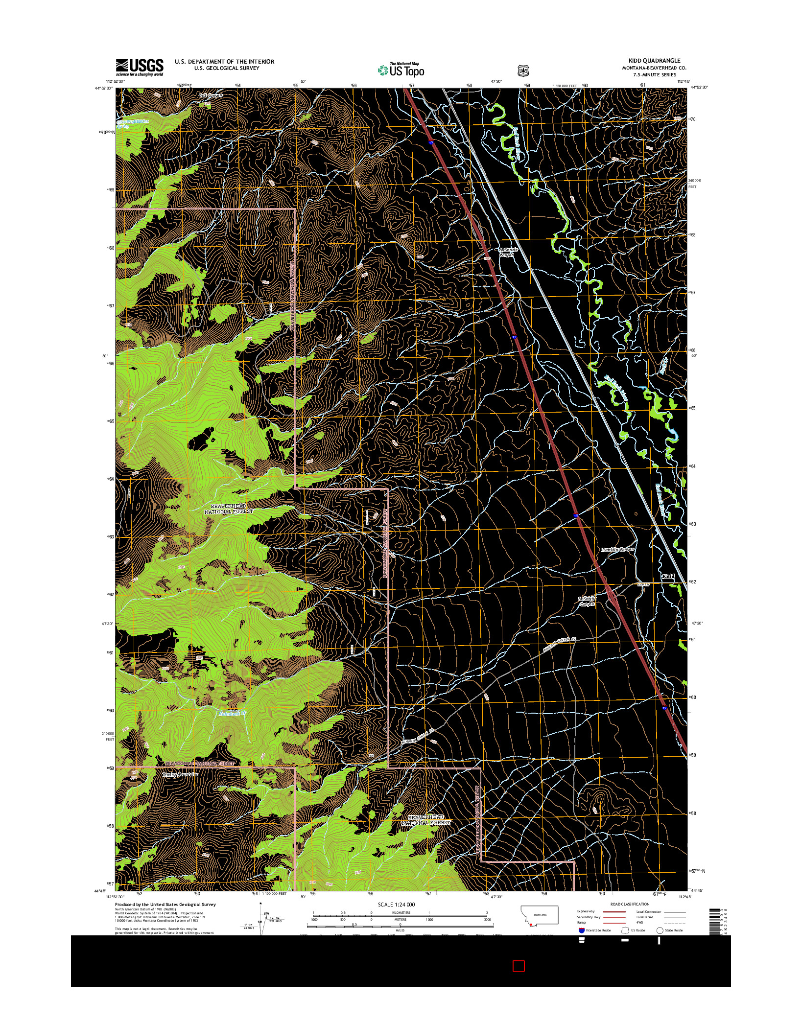 USGS US TOPO 7.5-MINUTE MAP FOR KIDD, MT 2014