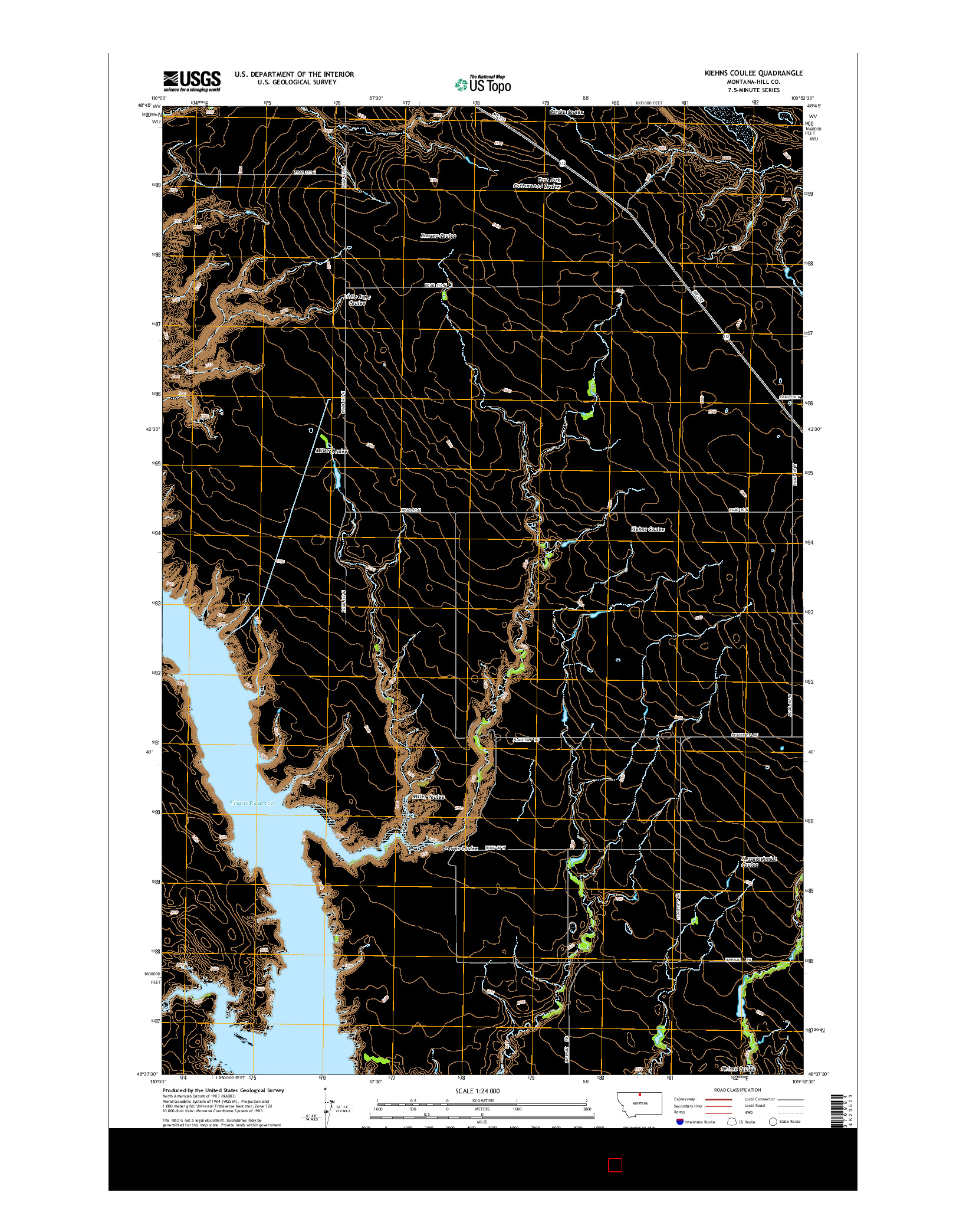 USGS US TOPO 7.5-MINUTE MAP FOR KIEHNS COULEE, MT 2014