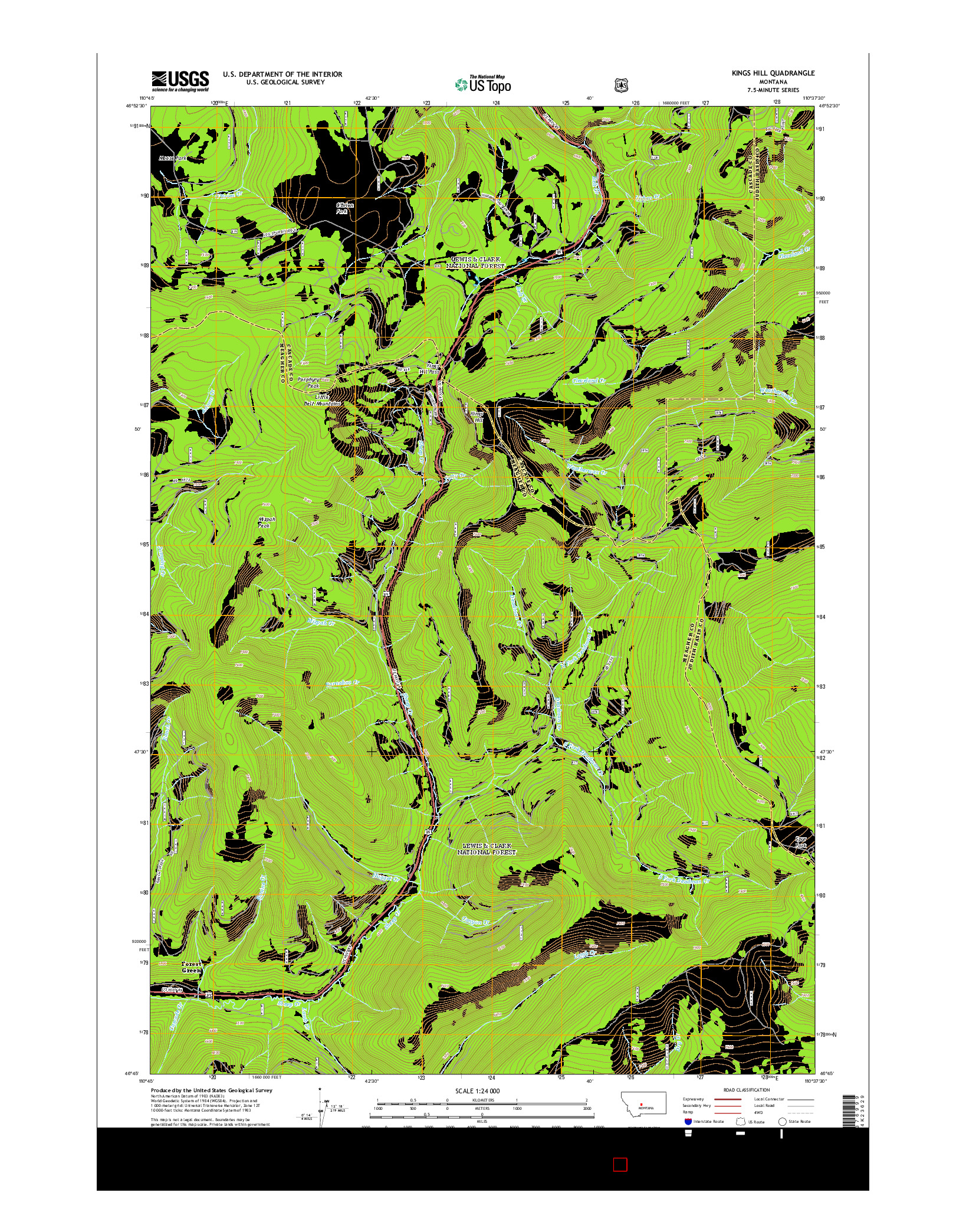 USGS US TOPO 7.5-MINUTE MAP FOR KINGS HILL, MT 2014