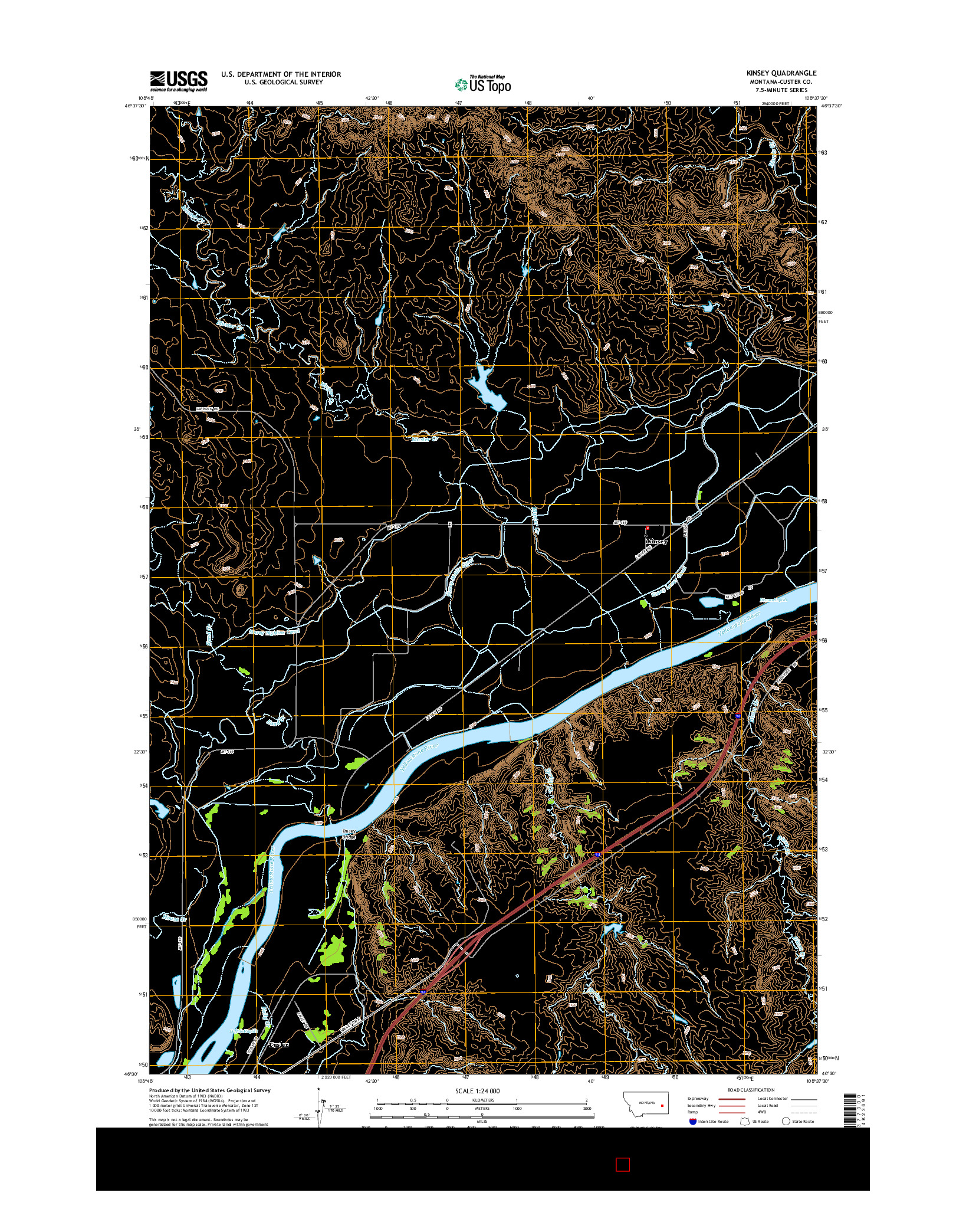 USGS US TOPO 7.5-MINUTE MAP FOR KINSEY, MT 2014