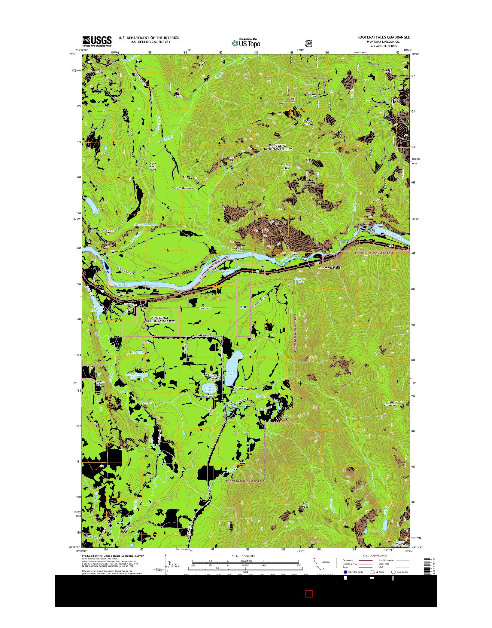 USGS US TOPO 7.5-MINUTE MAP FOR KOOTENAI FALLS, MT 2014