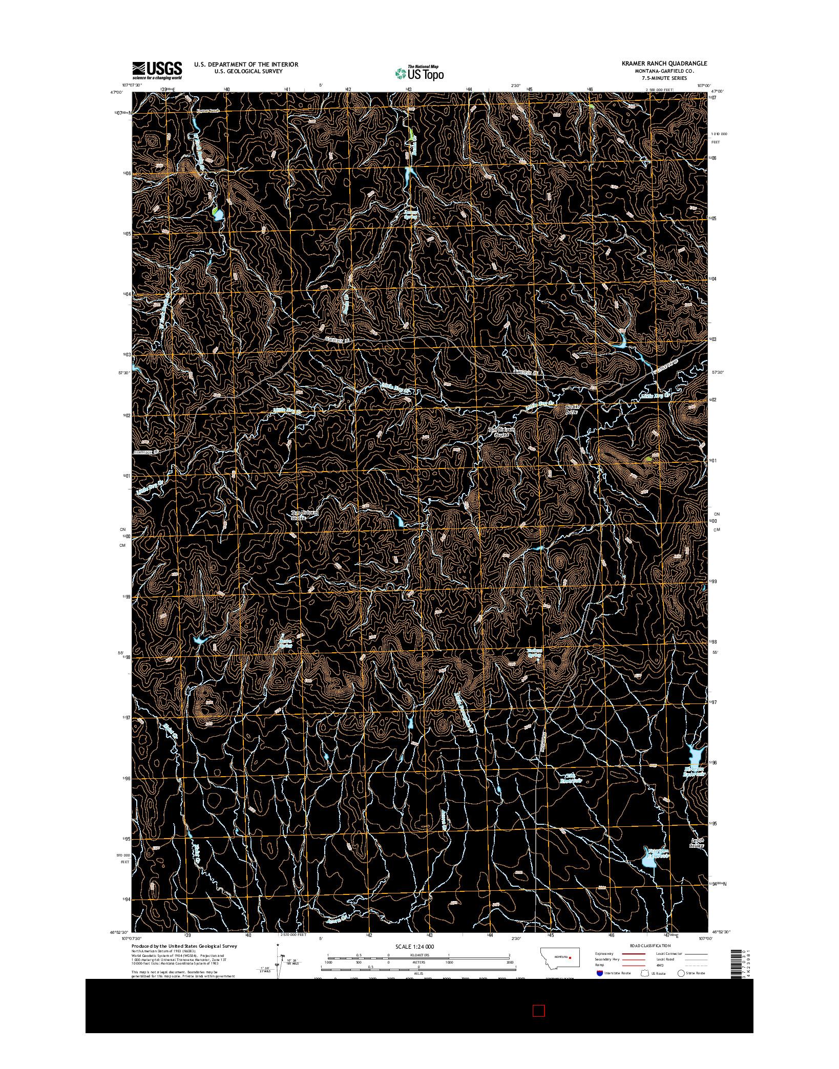 USGS US TOPO 7.5-MINUTE MAP FOR KRAMER RANCH, MT 2014