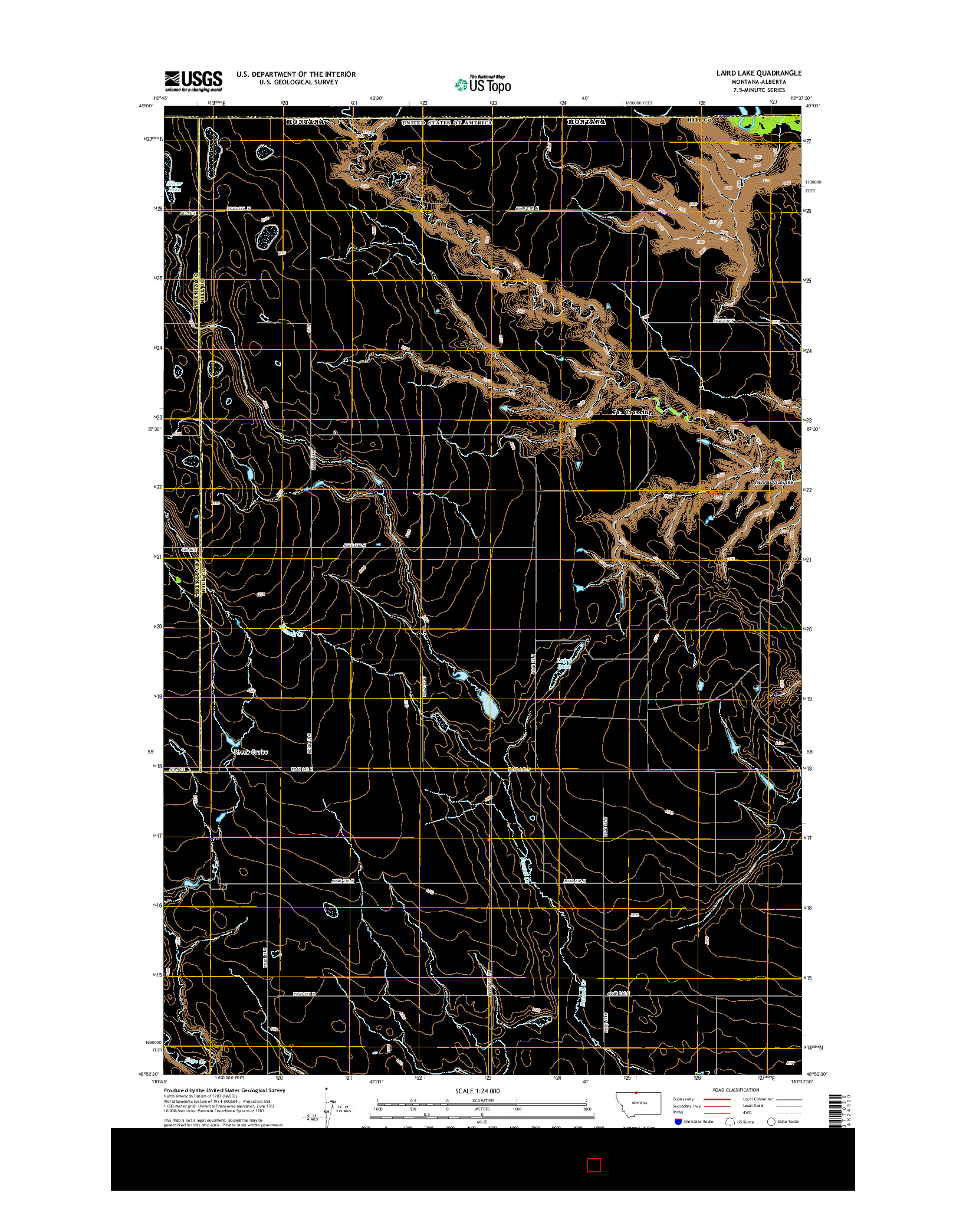 USGS US TOPO 7.5-MINUTE MAP FOR LAIRD LAKE, MT-AB 2014
