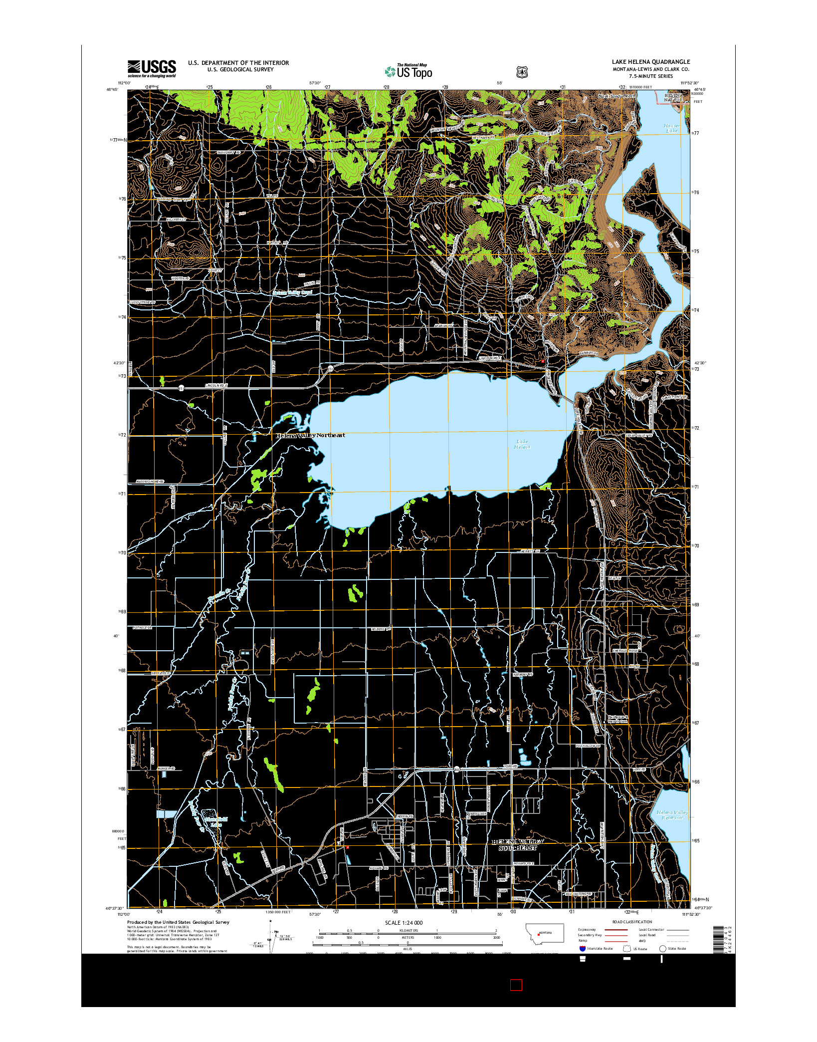 USGS US TOPO 7.5-MINUTE MAP FOR LAKE HELENA, MT 2014