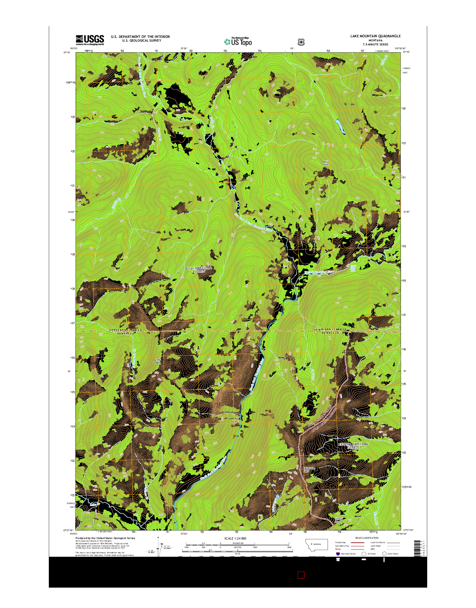 USGS US TOPO 7.5-MINUTE MAP FOR LAKE MOUNTAIN, MT 2014