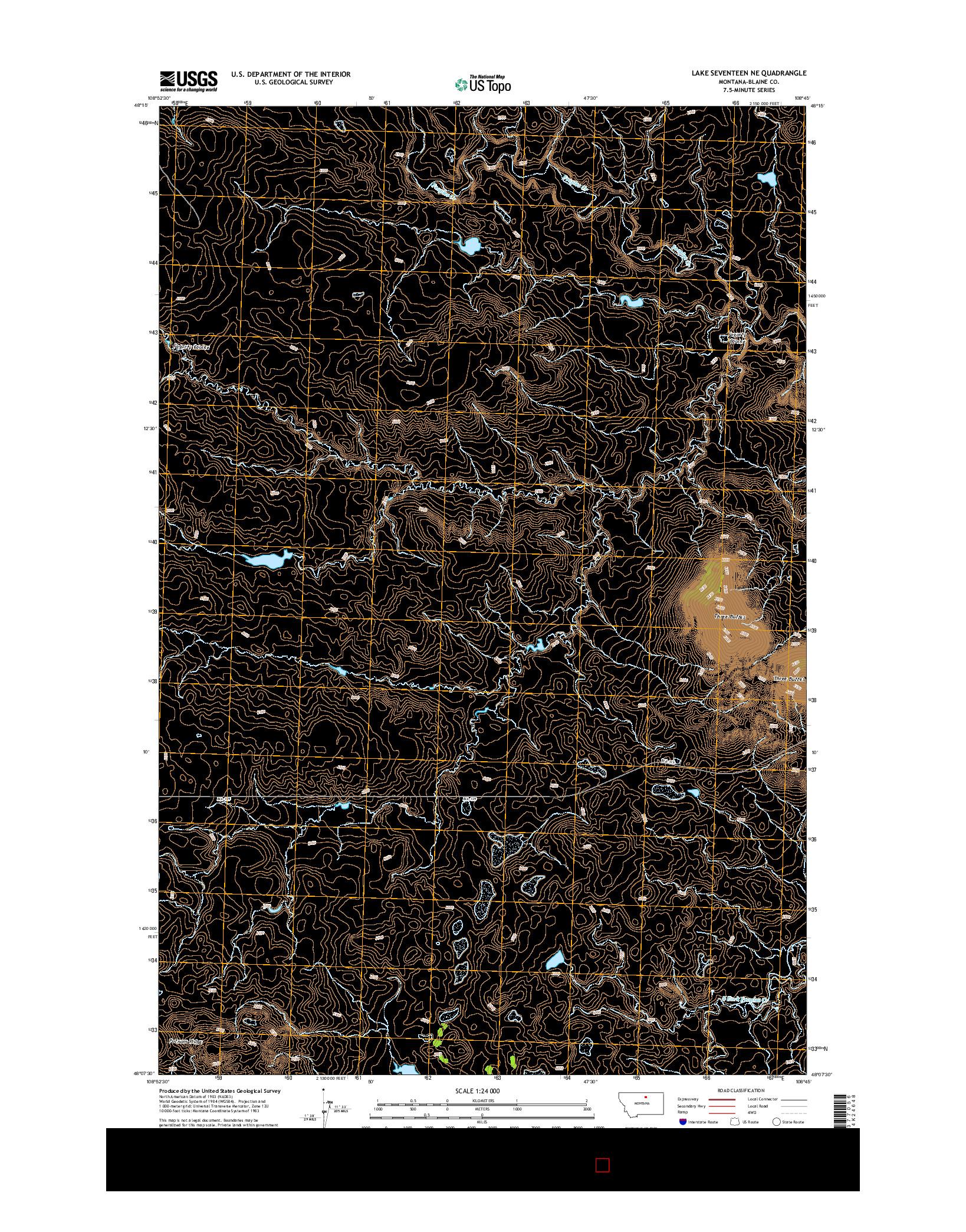 USGS US TOPO 7.5-MINUTE MAP FOR LAKE SEVENTEEN NE, MT 2014