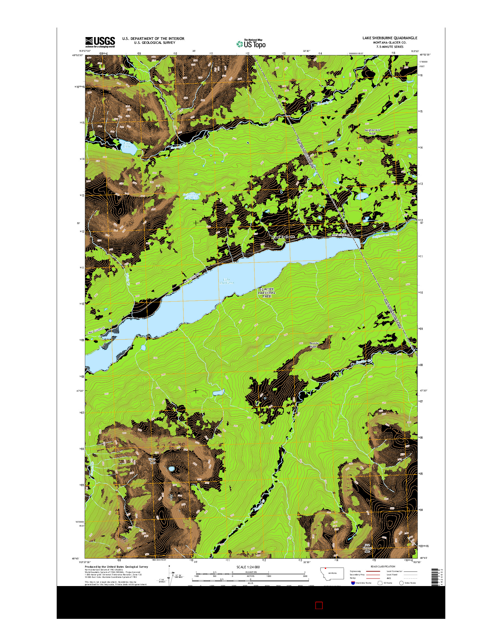 USGS US TOPO 7.5-MINUTE MAP FOR LAKE SHERBURNE, MT 2014