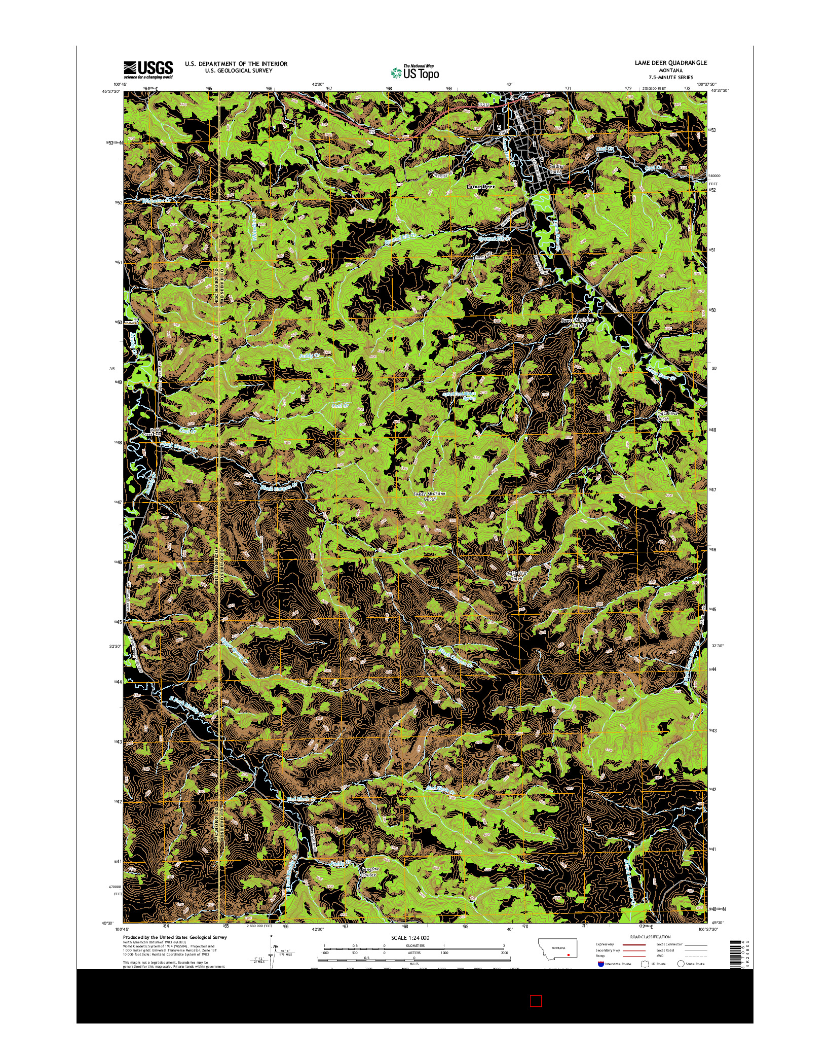 USGS US TOPO 7.5-MINUTE MAP FOR LAME DEER, MT 2014