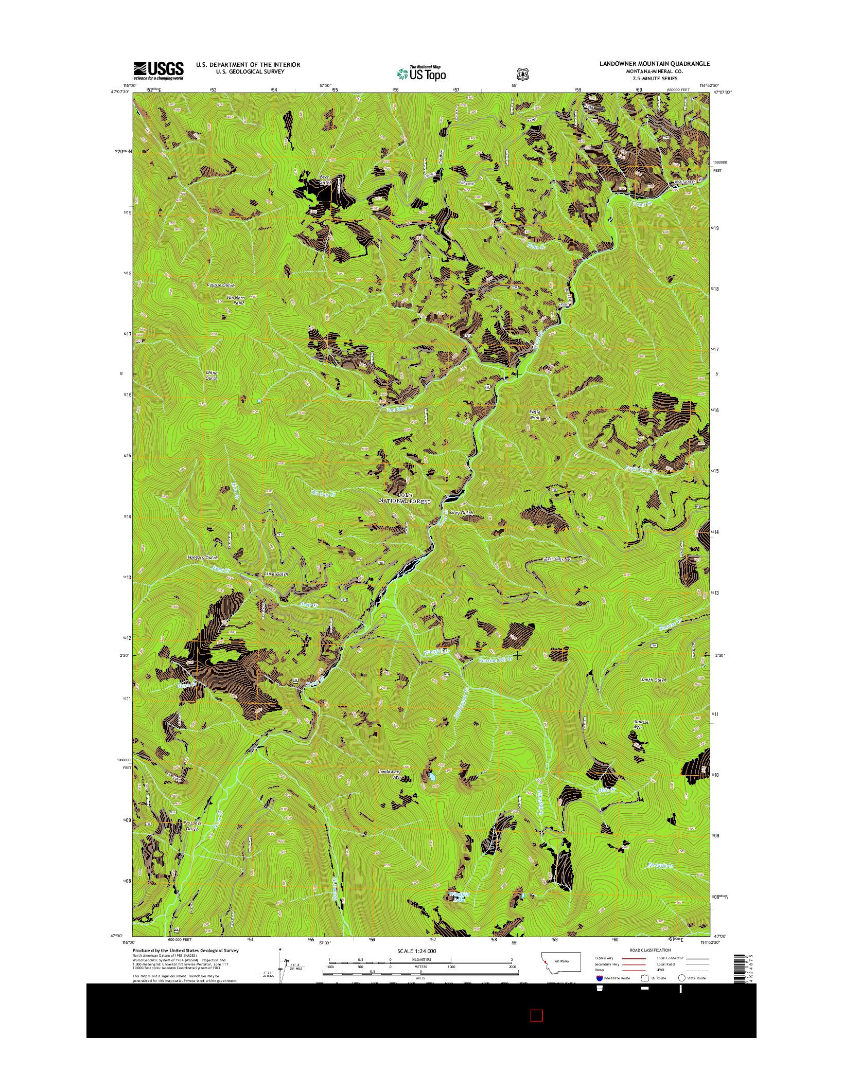 USGS US TOPO 7.5-MINUTE MAP FOR LANDOWNER MOUNTAIN, MT 2014
