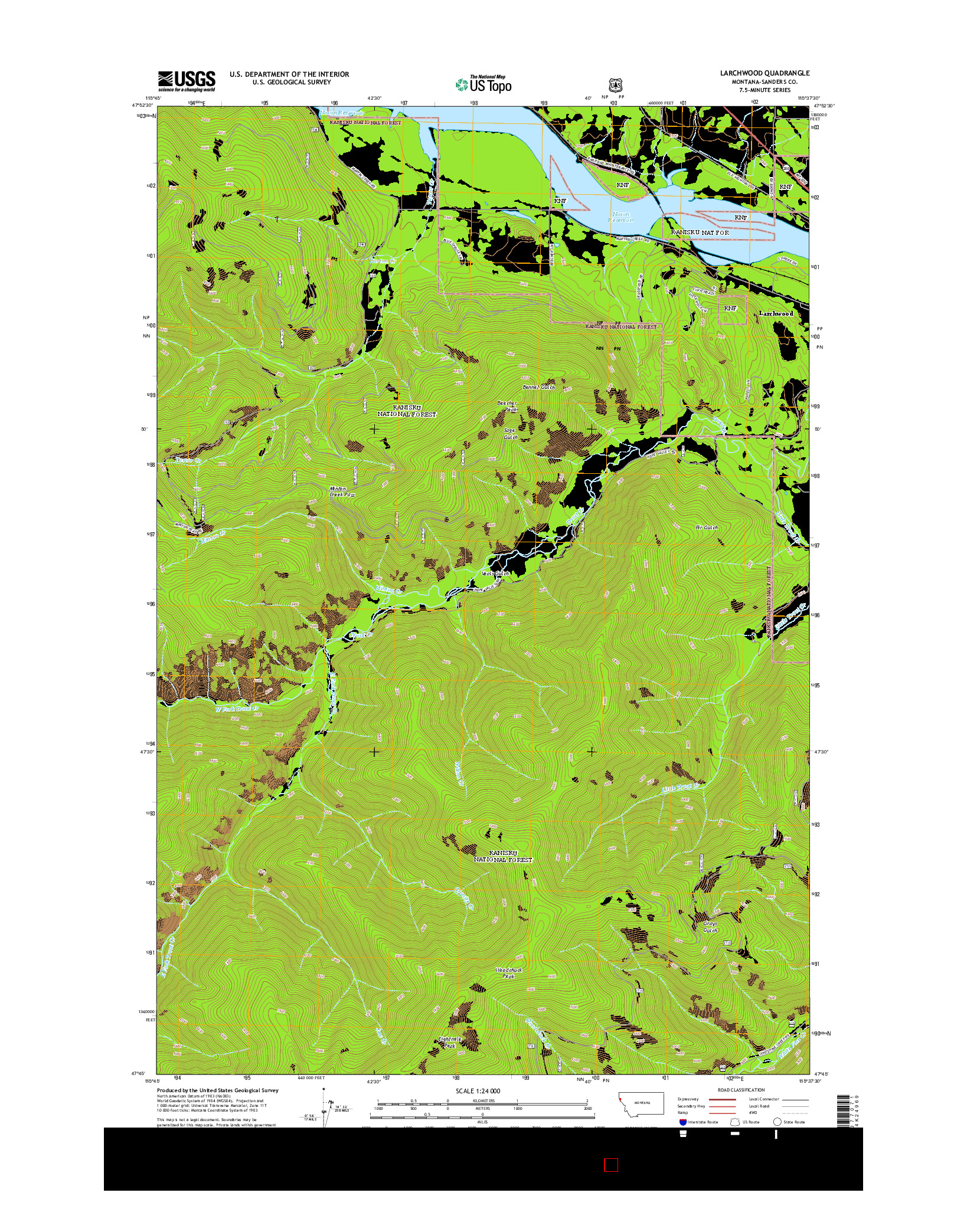 USGS US TOPO 7.5-MINUTE MAP FOR LARCHWOOD, MT 2014