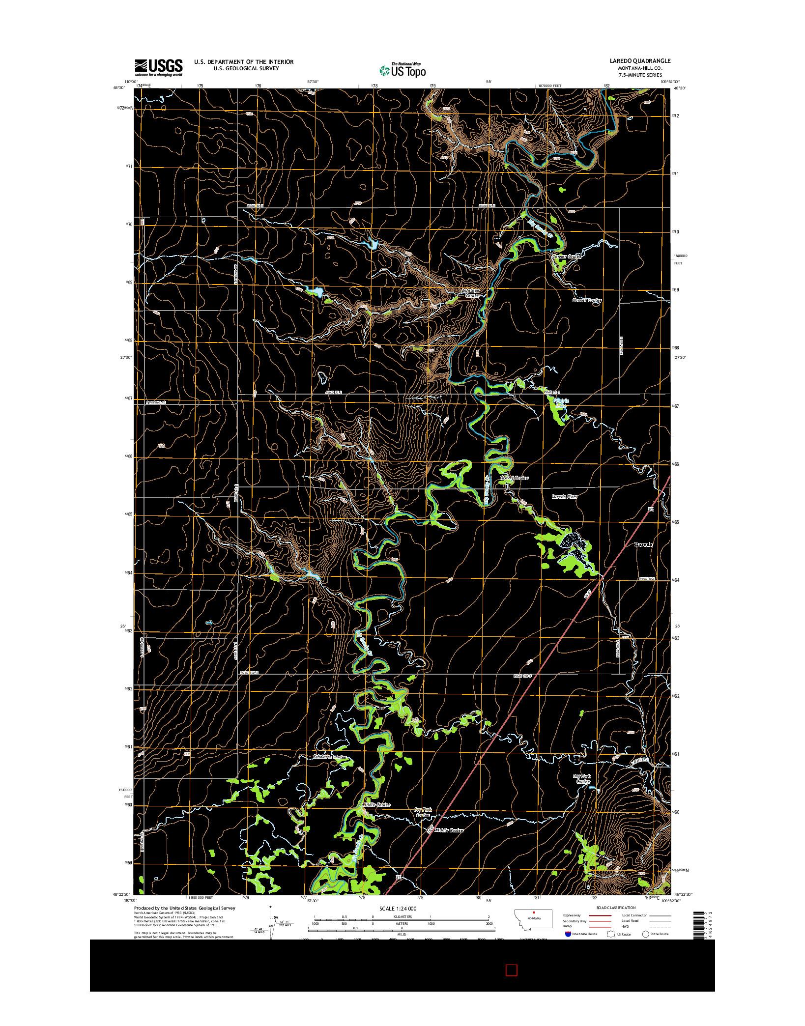 USGS US TOPO 7.5-MINUTE MAP FOR LAREDO, MT 2014