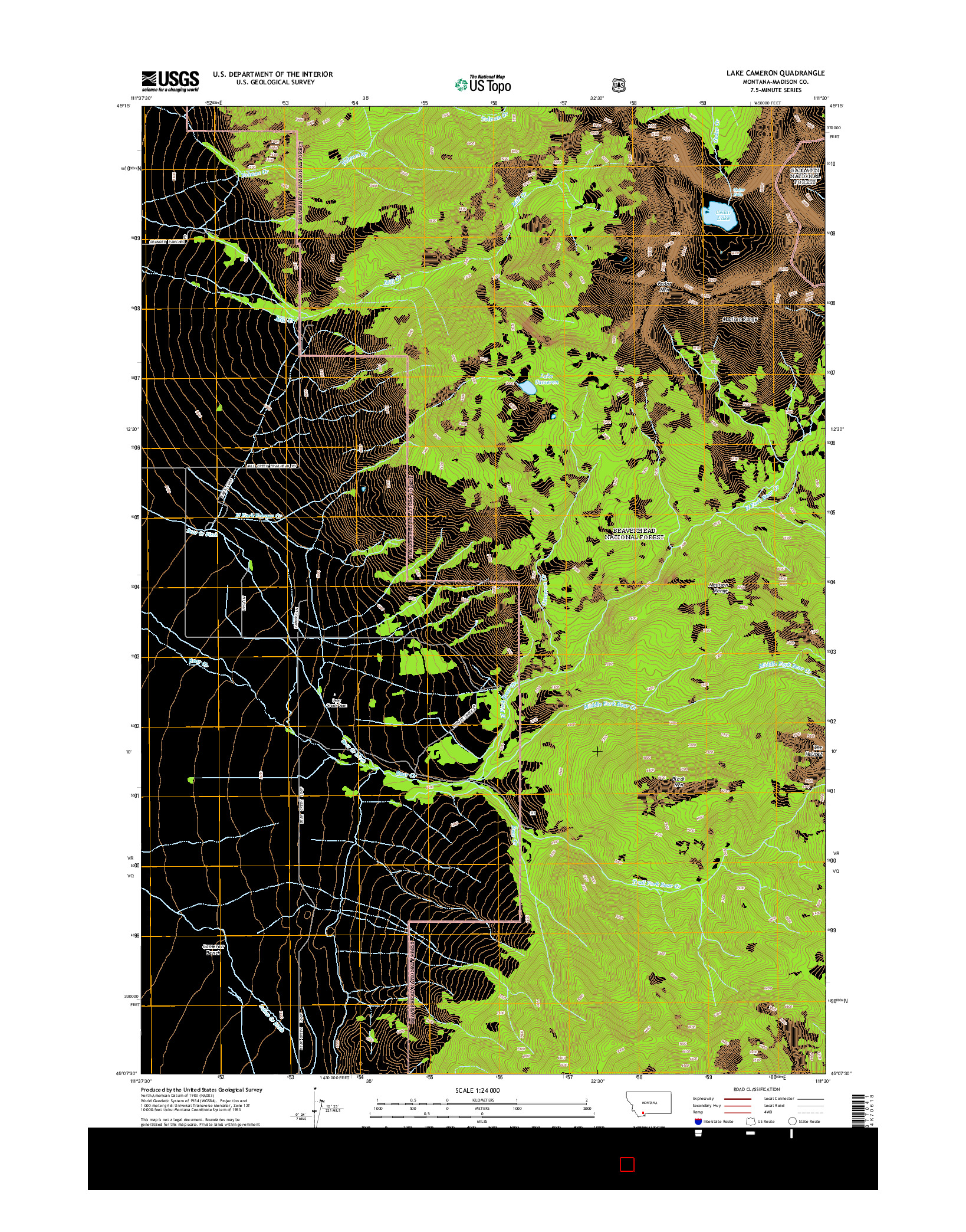 USGS US TOPO 7.5-MINUTE MAP FOR LAKE CAMERON, MT 2014