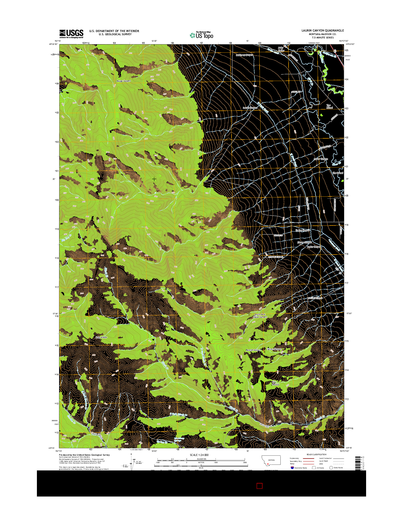 USGS US TOPO 7.5-MINUTE MAP FOR LAURIN CANYON, MT 2014