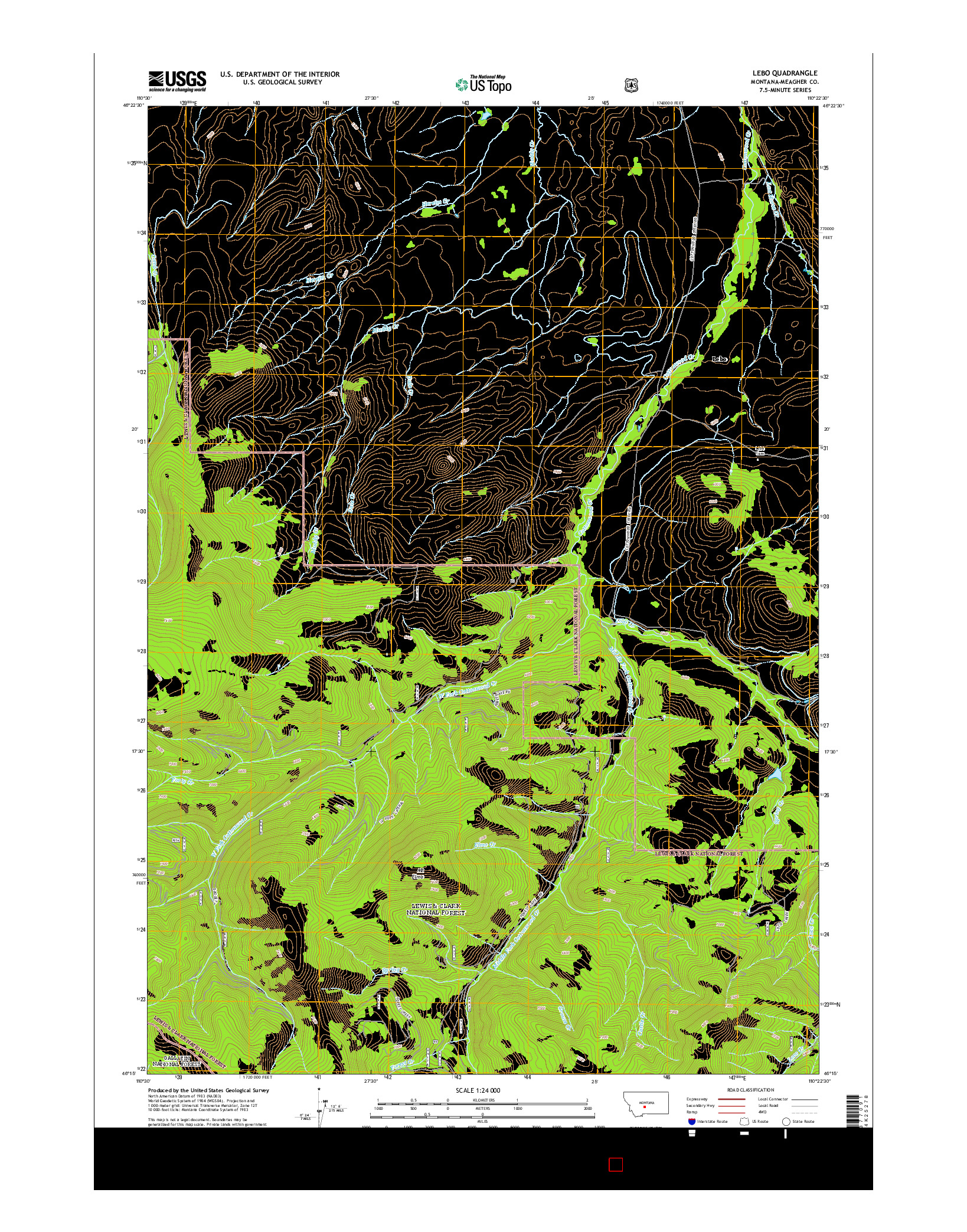 USGS US TOPO 7.5-MINUTE MAP FOR LEBO, MT 2014
