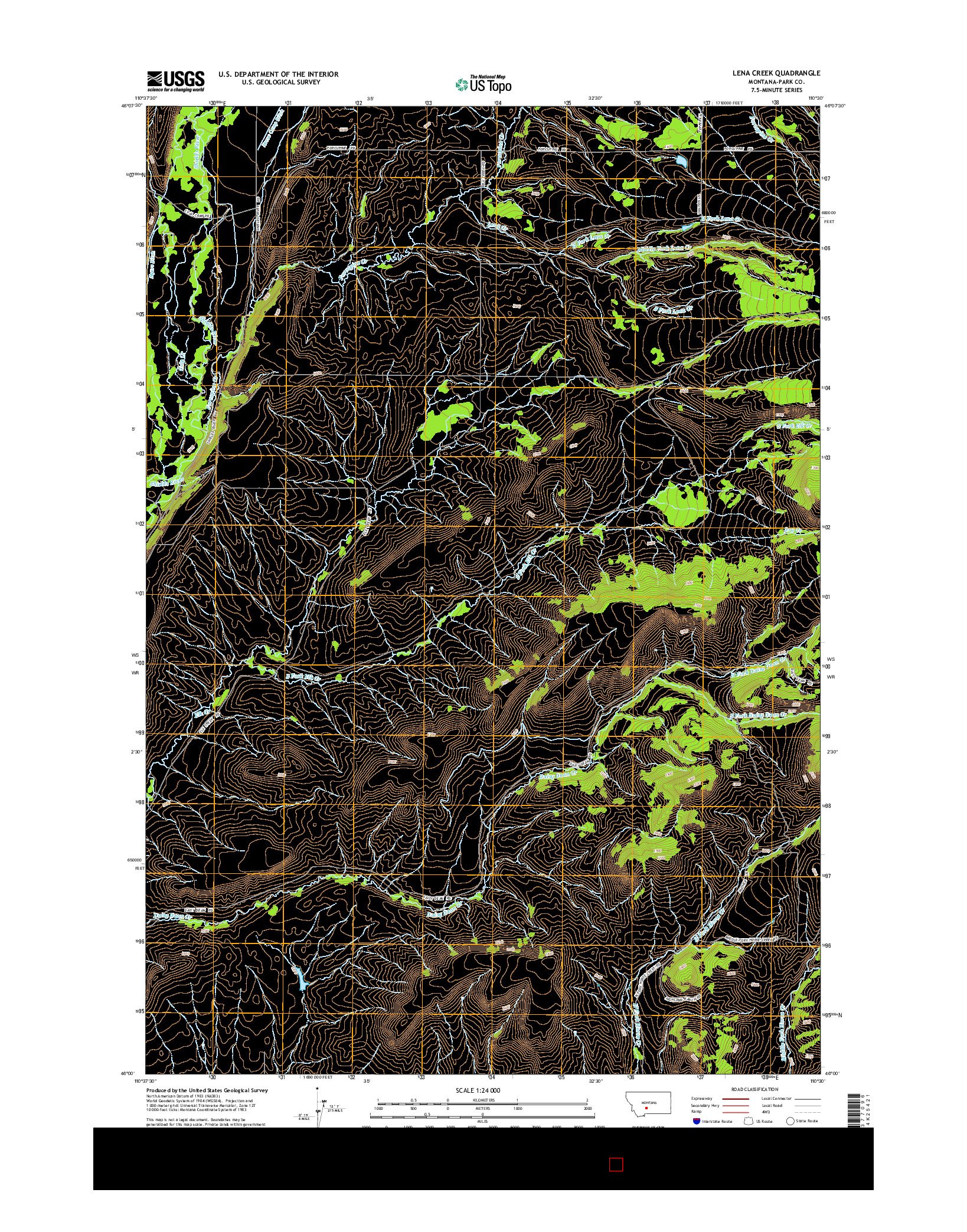 USGS US TOPO 7.5-MINUTE MAP FOR LENA CREEK, MT 2014