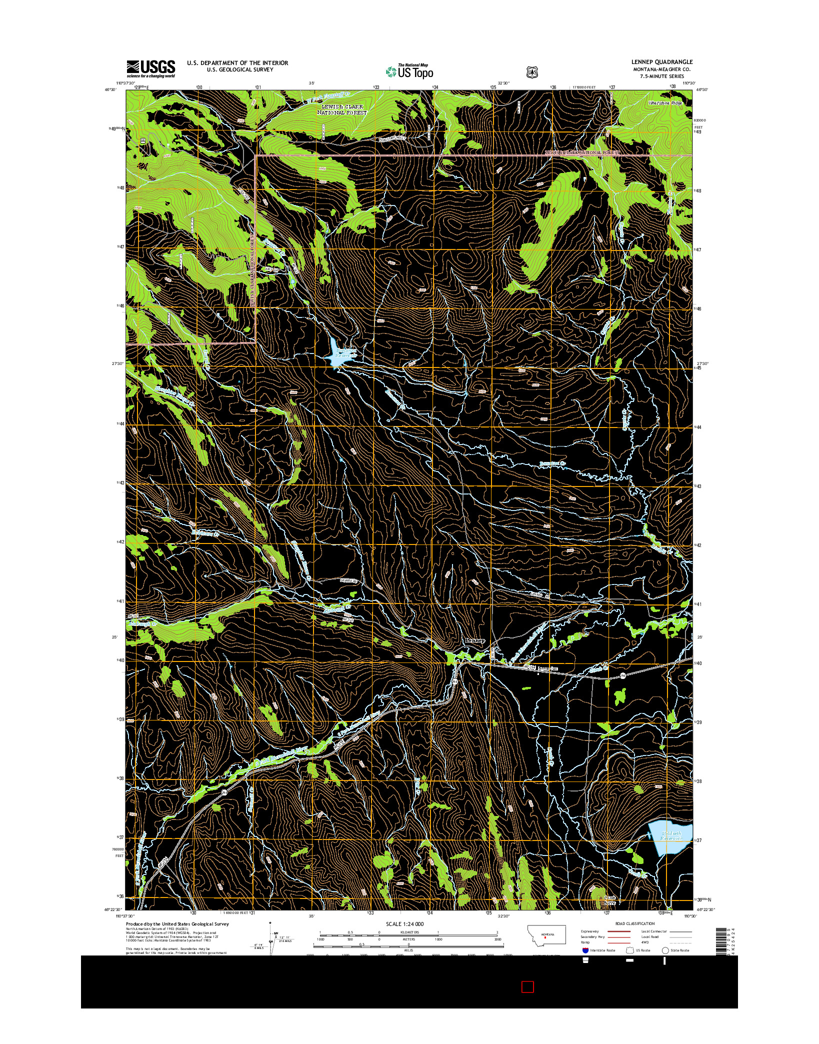 USGS US TOPO 7.5-MINUTE MAP FOR LENNEP, MT 2014