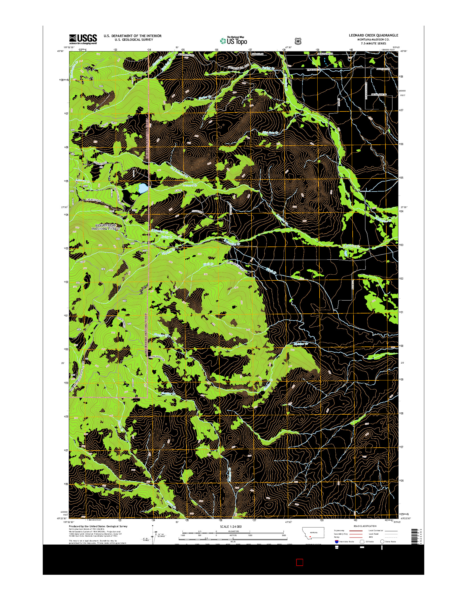 USGS US TOPO 7.5-MINUTE MAP FOR LEONARD CREEK, MT 2014