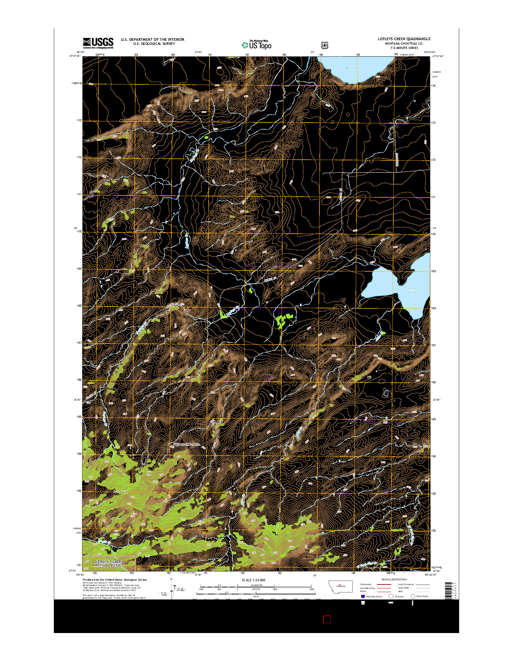 USGS US TOPO 7.5-MINUTE MAP FOR LEPLEYS CREEK, MT 2014
