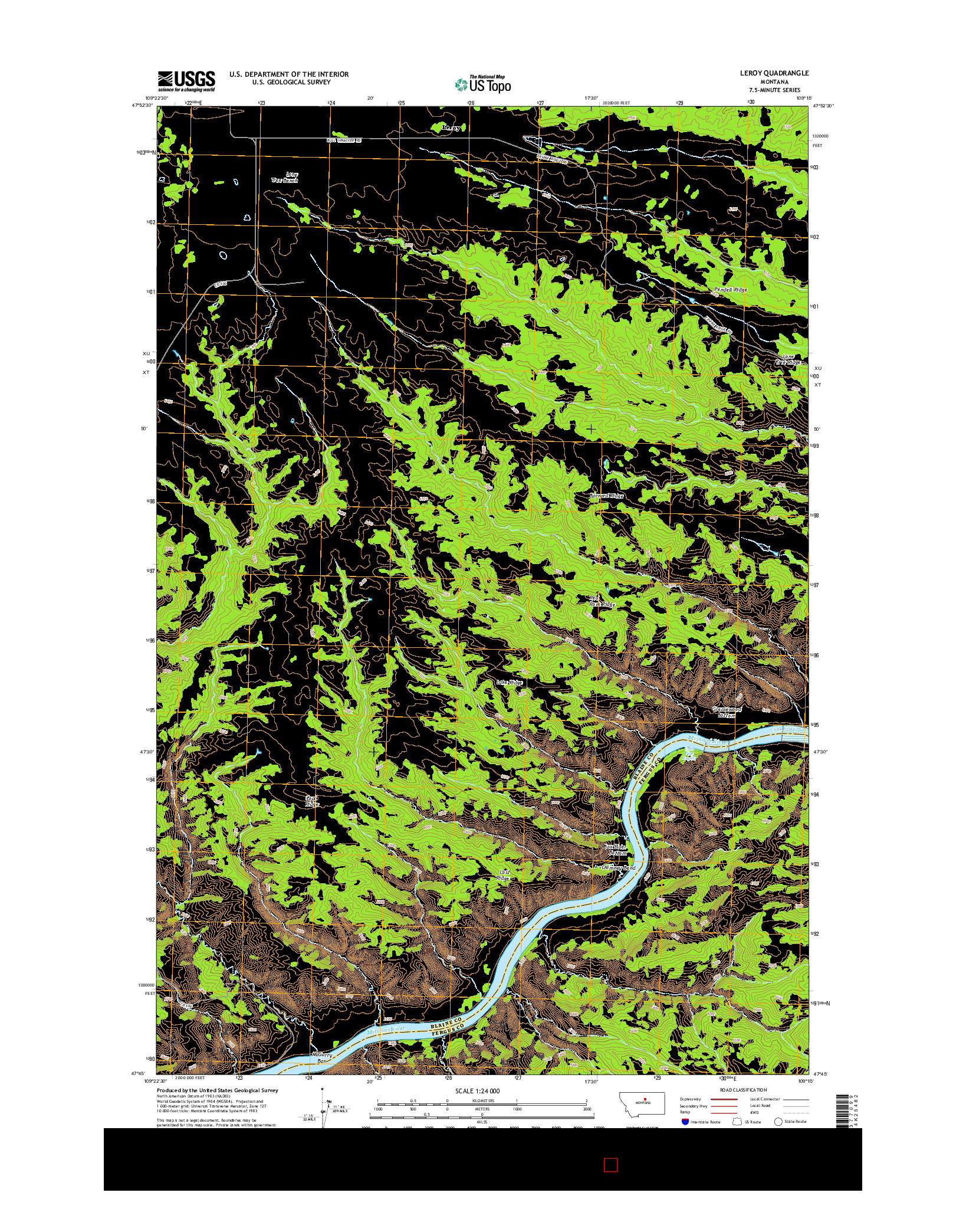 USGS US TOPO 7.5-MINUTE MAP FOR LEROY, MT 2014